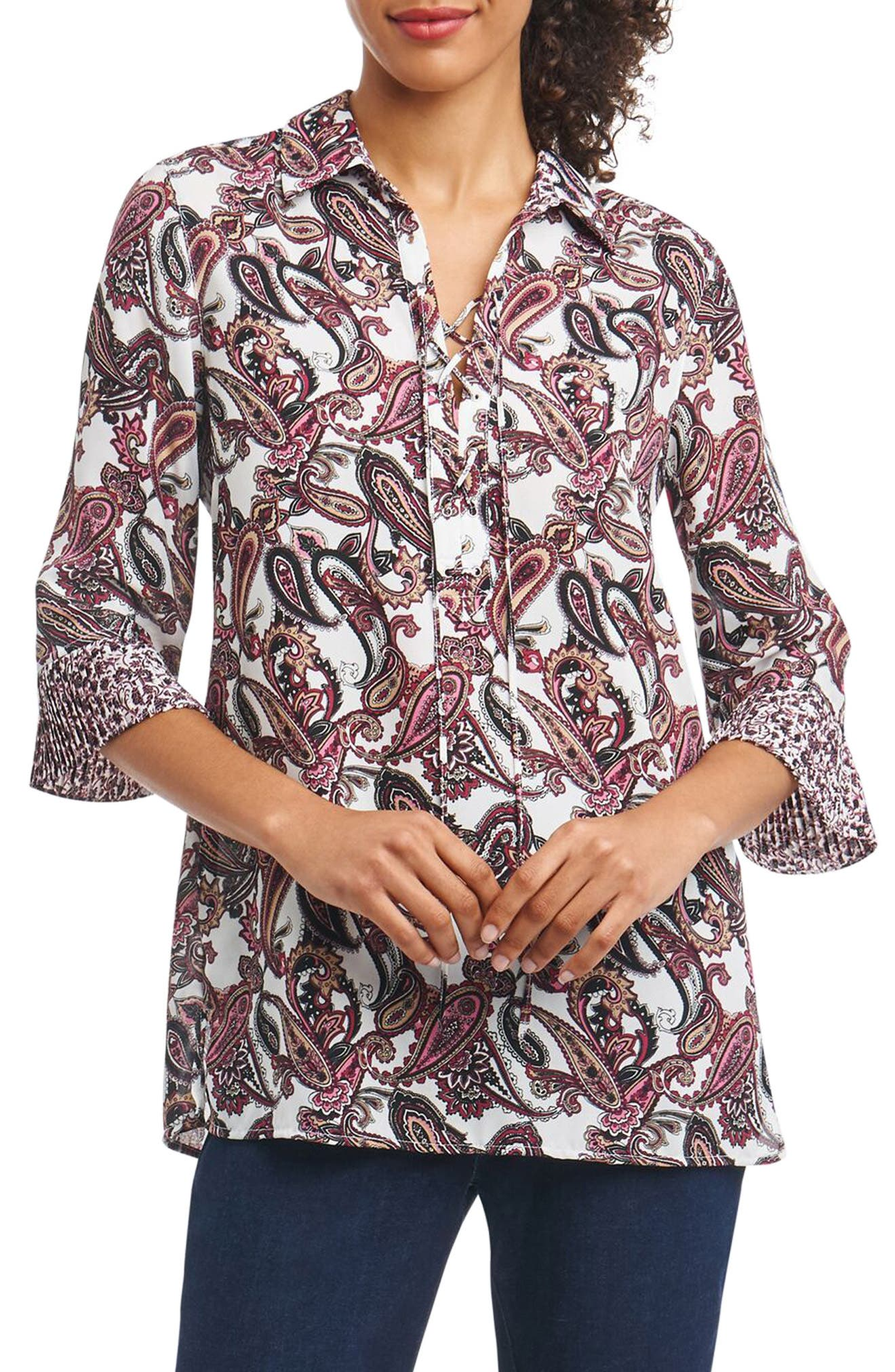 Alternate Image 1 Selected - Foxcroft Felicity Lace-Up Tunic Top (Regular & Petite)