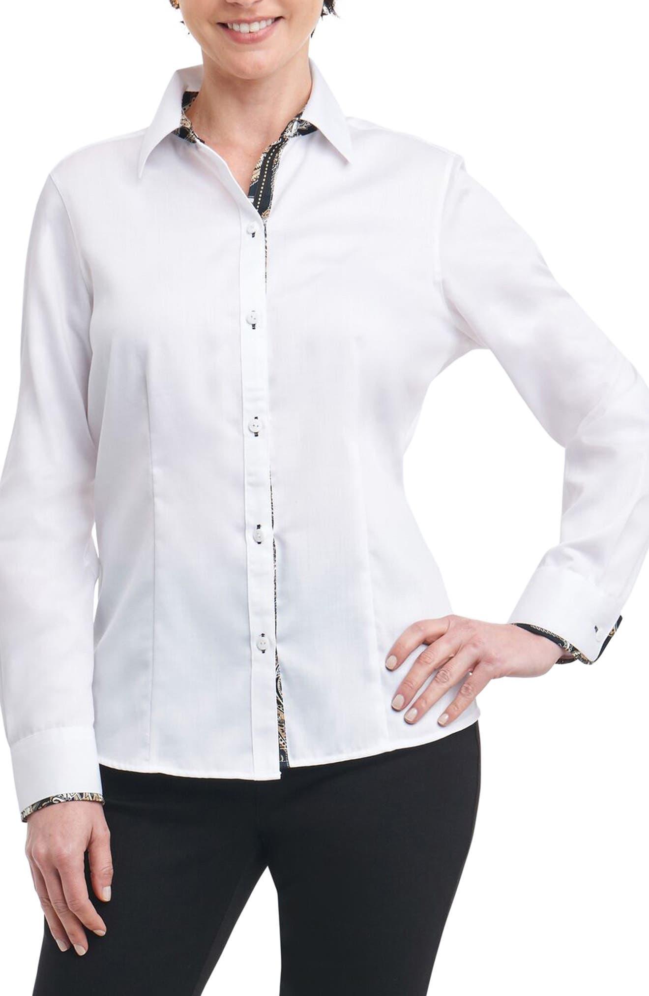 Alternate Image 1 Selected - Foxcroft Brooke Contrast Trim Sateen Shirt