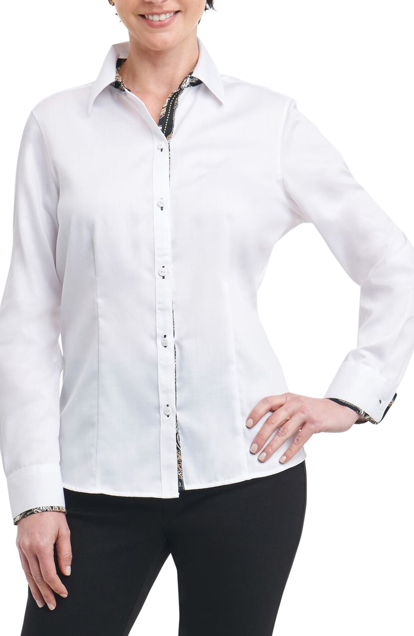 Brooke Contrast Trim Sateen Shirt,                         Main,                         color, White