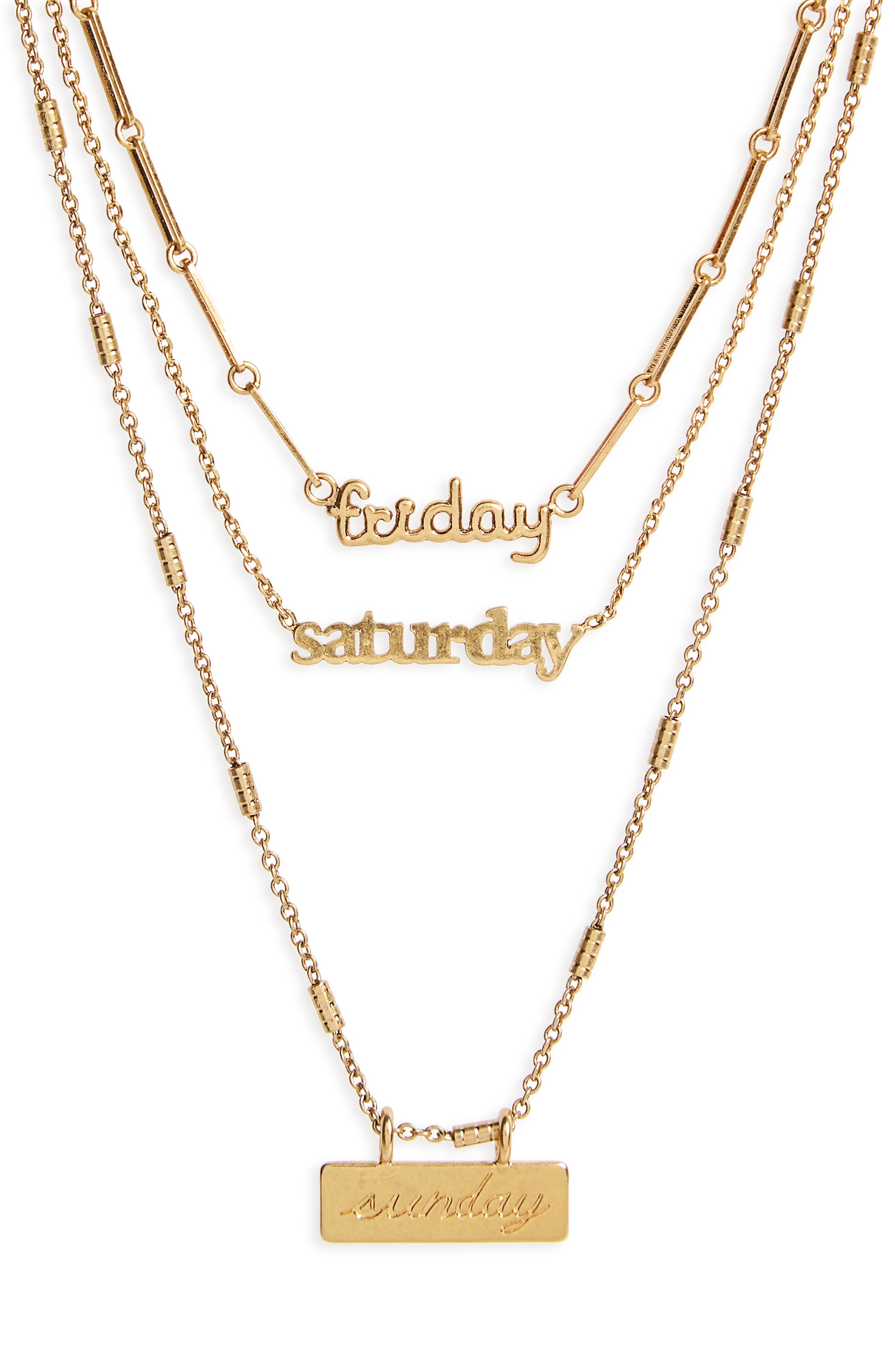 Friday Saturday Sunday Necklace Set,                             Alternate thumbnail 2, color,                             Gold Ox