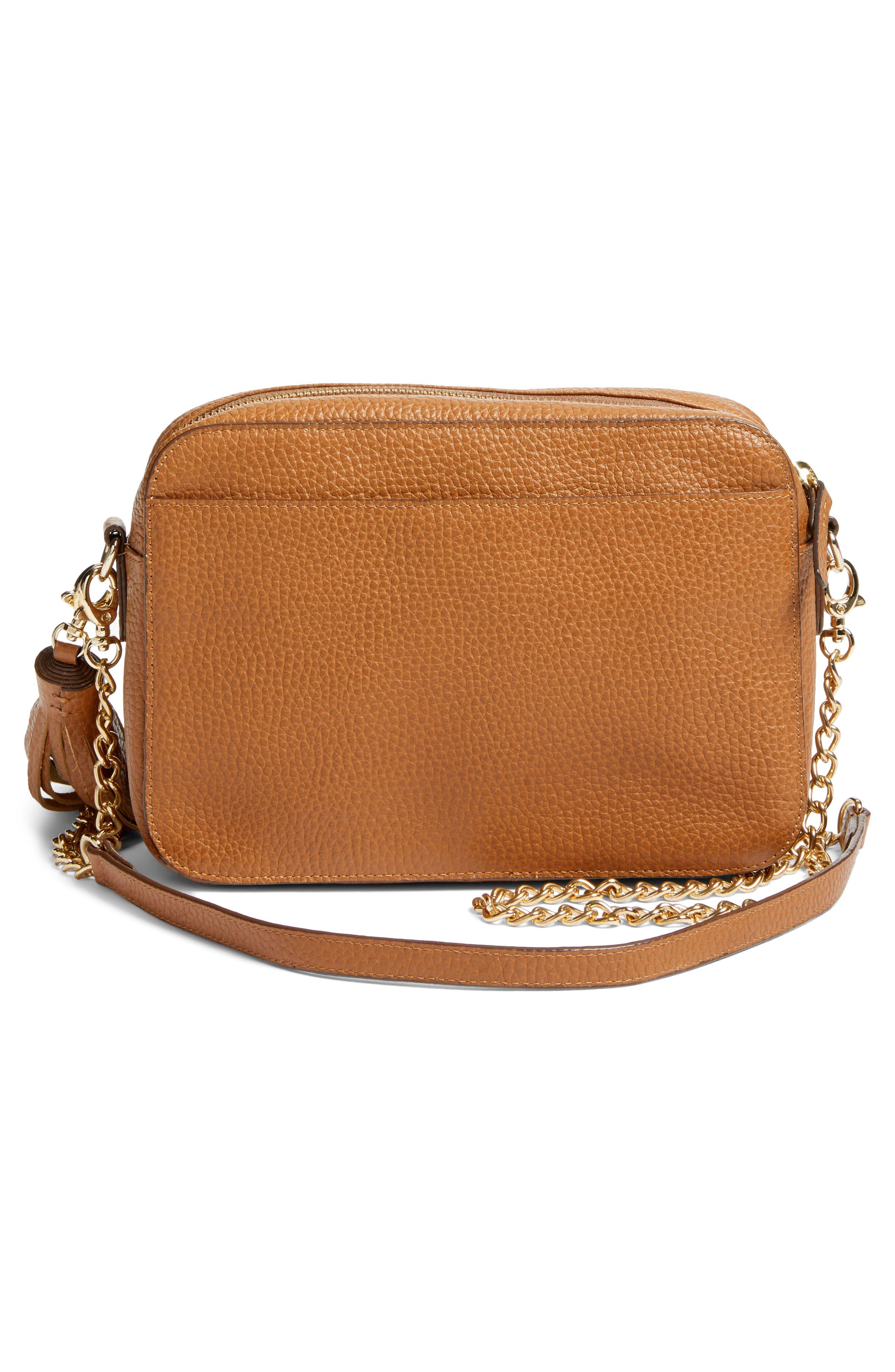 Ella Tassel Leather Crossbody Bag,                             Alternate thumbnail 3, color,                             Tan Spice