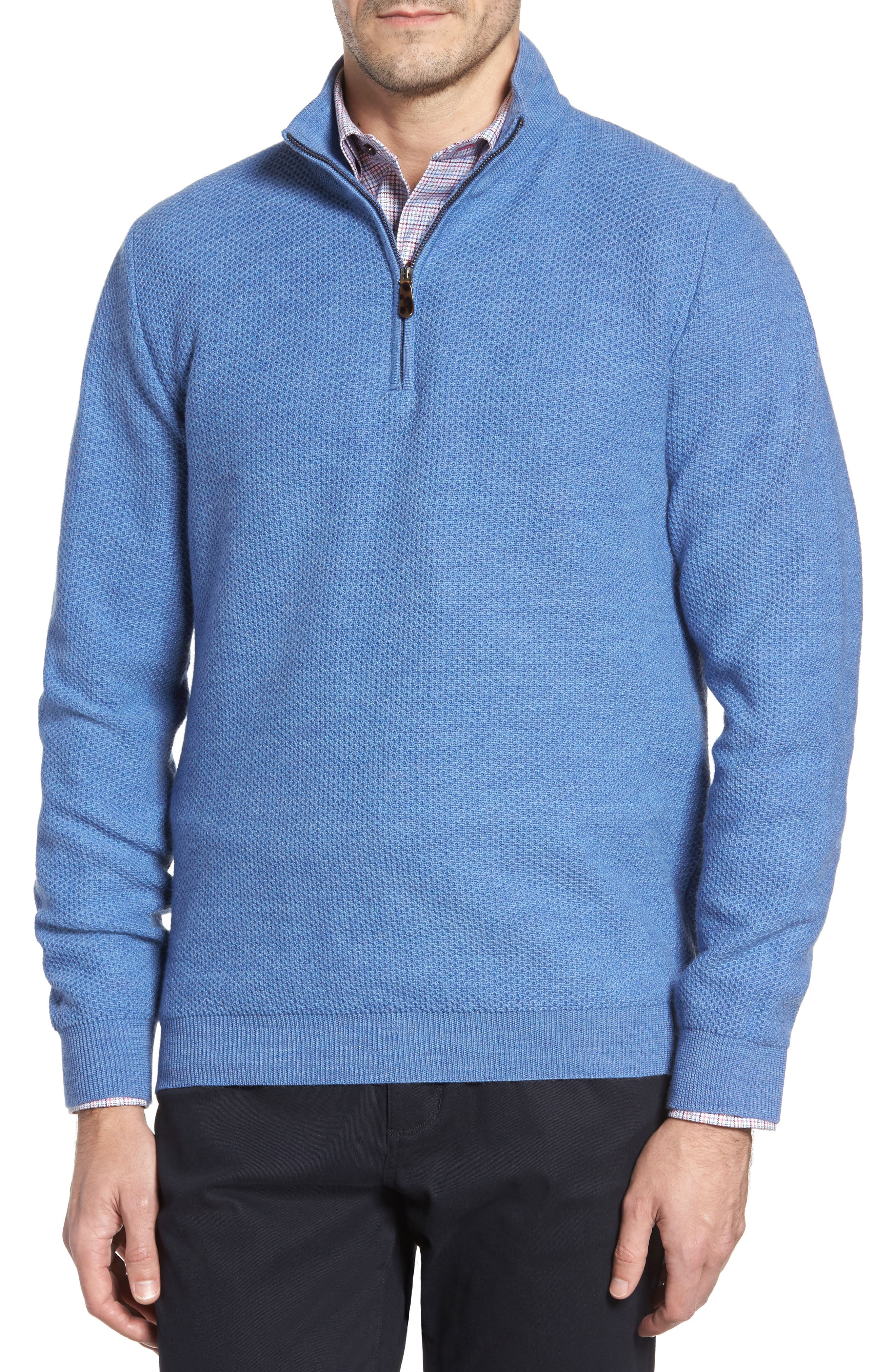 David Donahue Honeycomb Merino Wool Quarter Zip Pullover