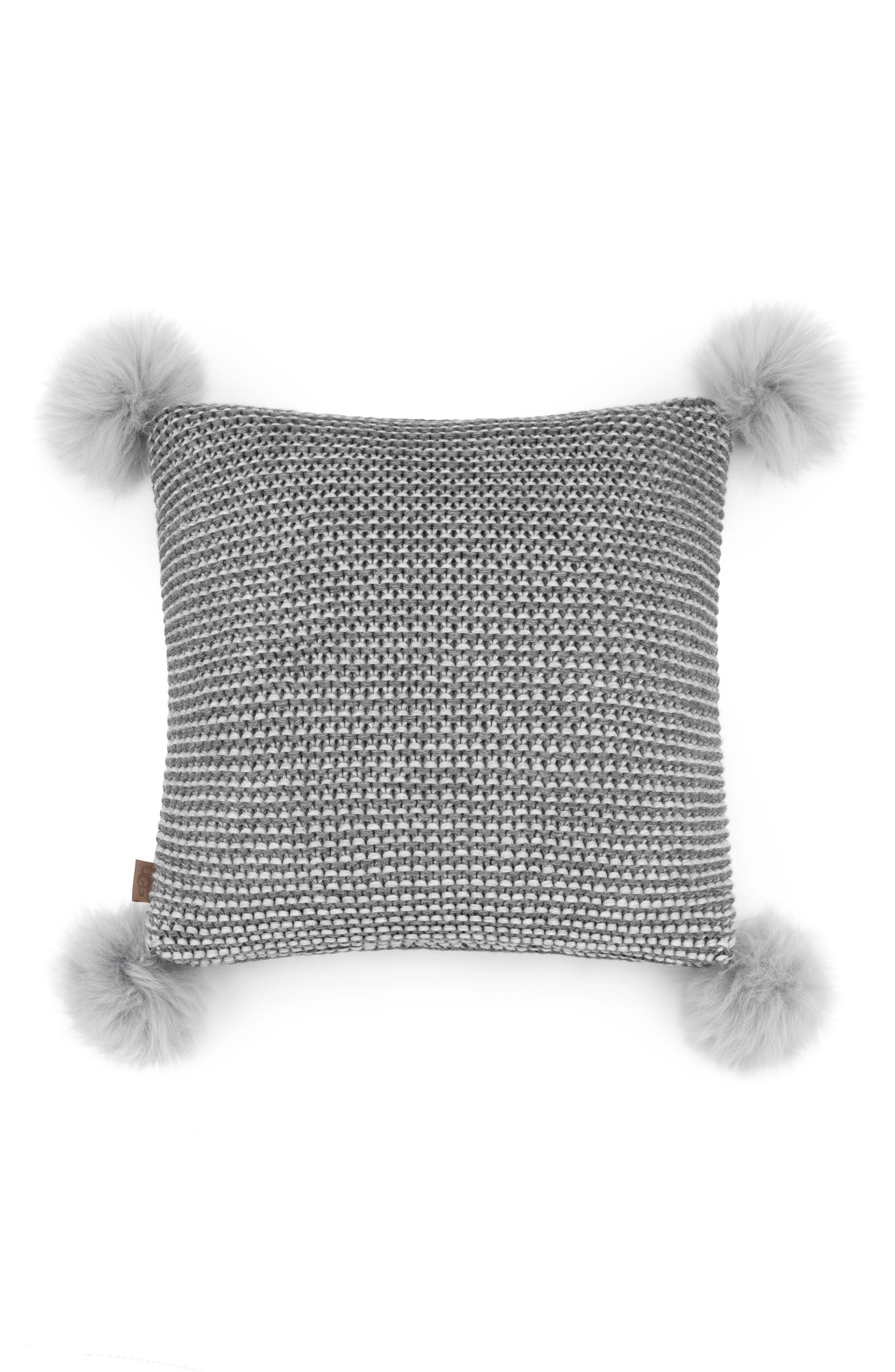 Snow Creek Genuine Shearling Pillow,                             Main thumbnail 1, color,                             Stone/ Seal