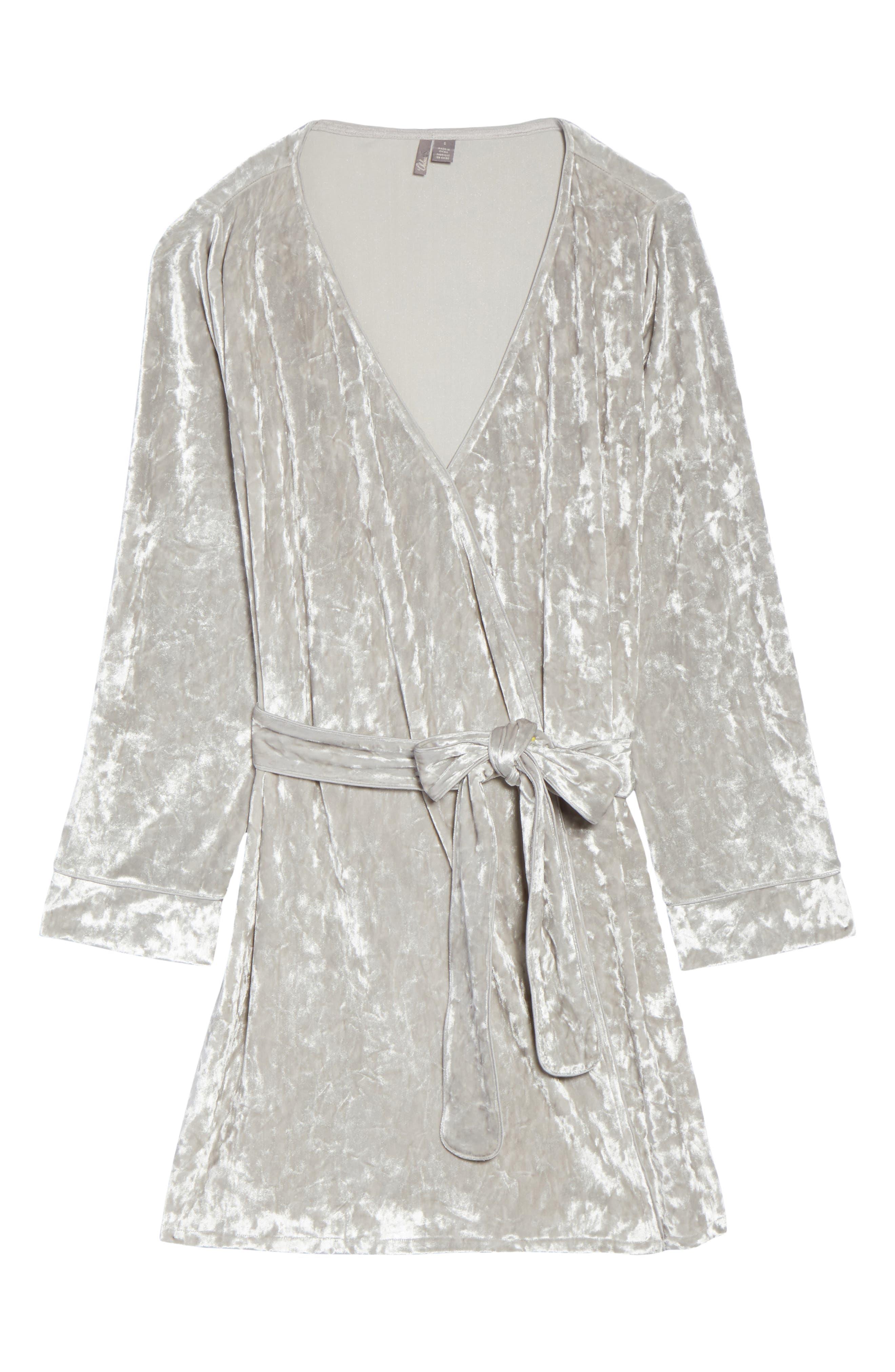 Crushed Velvet Short Robe,                             Alternate thumbnail 4, color,                             Grey Vapor