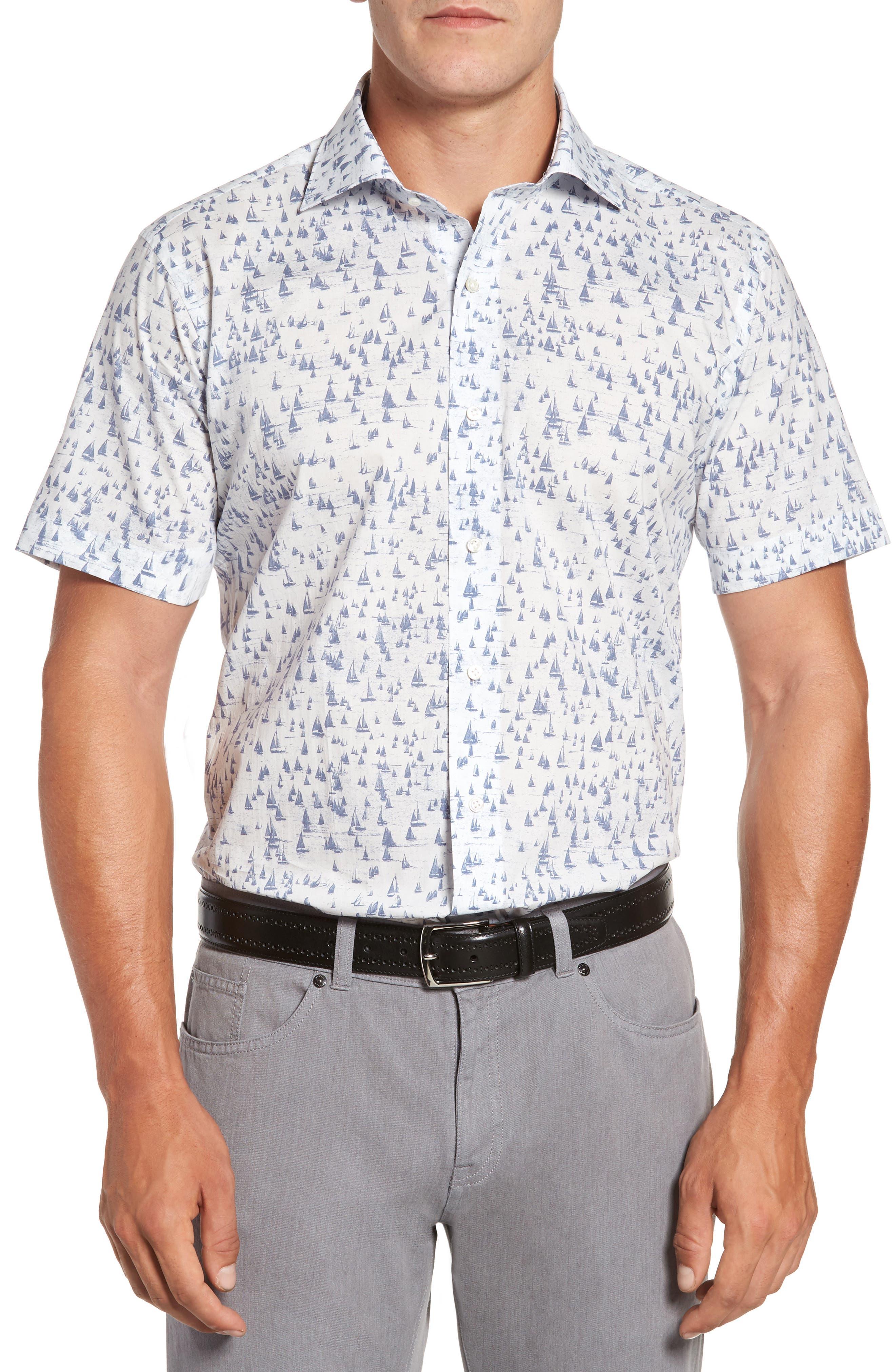 Smooth Sailin' Print Woven Shirt,                         Main,                         color, Avio Blue