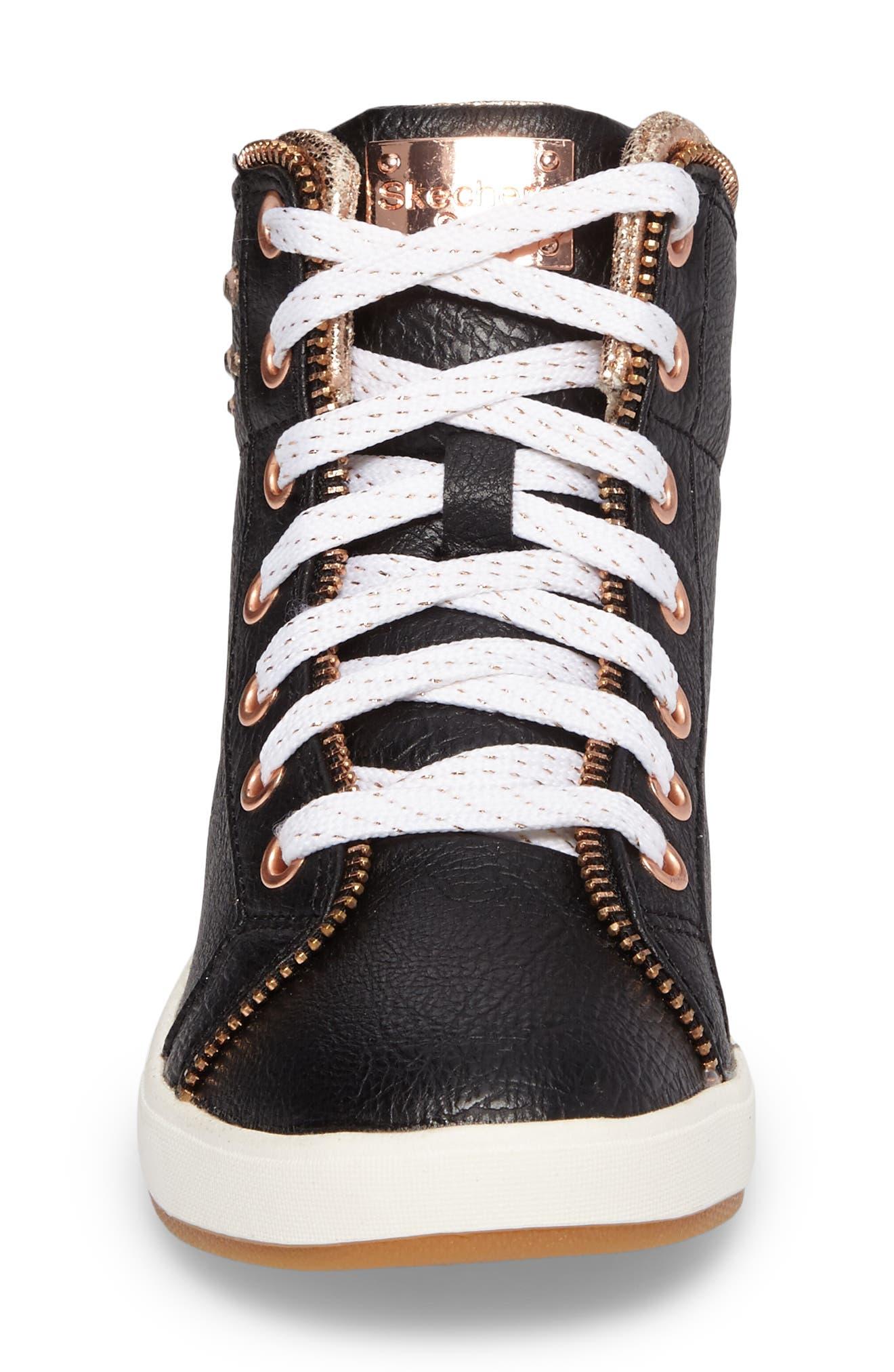 Shoutouts Embellished High Top Sneaker,                             Alternate thumbnail 4, color,                             Black/ Rose Gold
