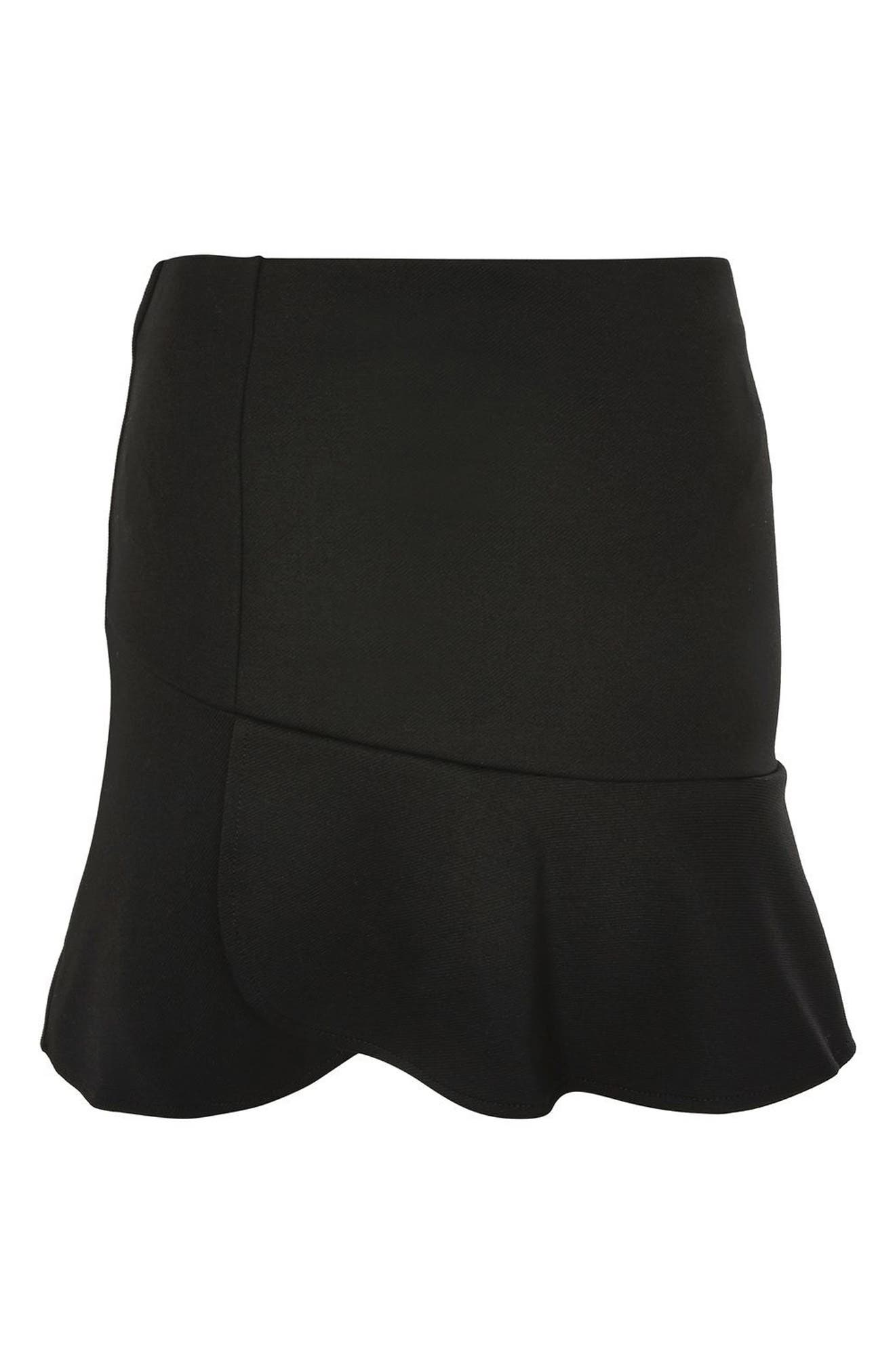 Paneled Flippy Miniskirt,                             Alternate thumbnail 4, color,                             Black