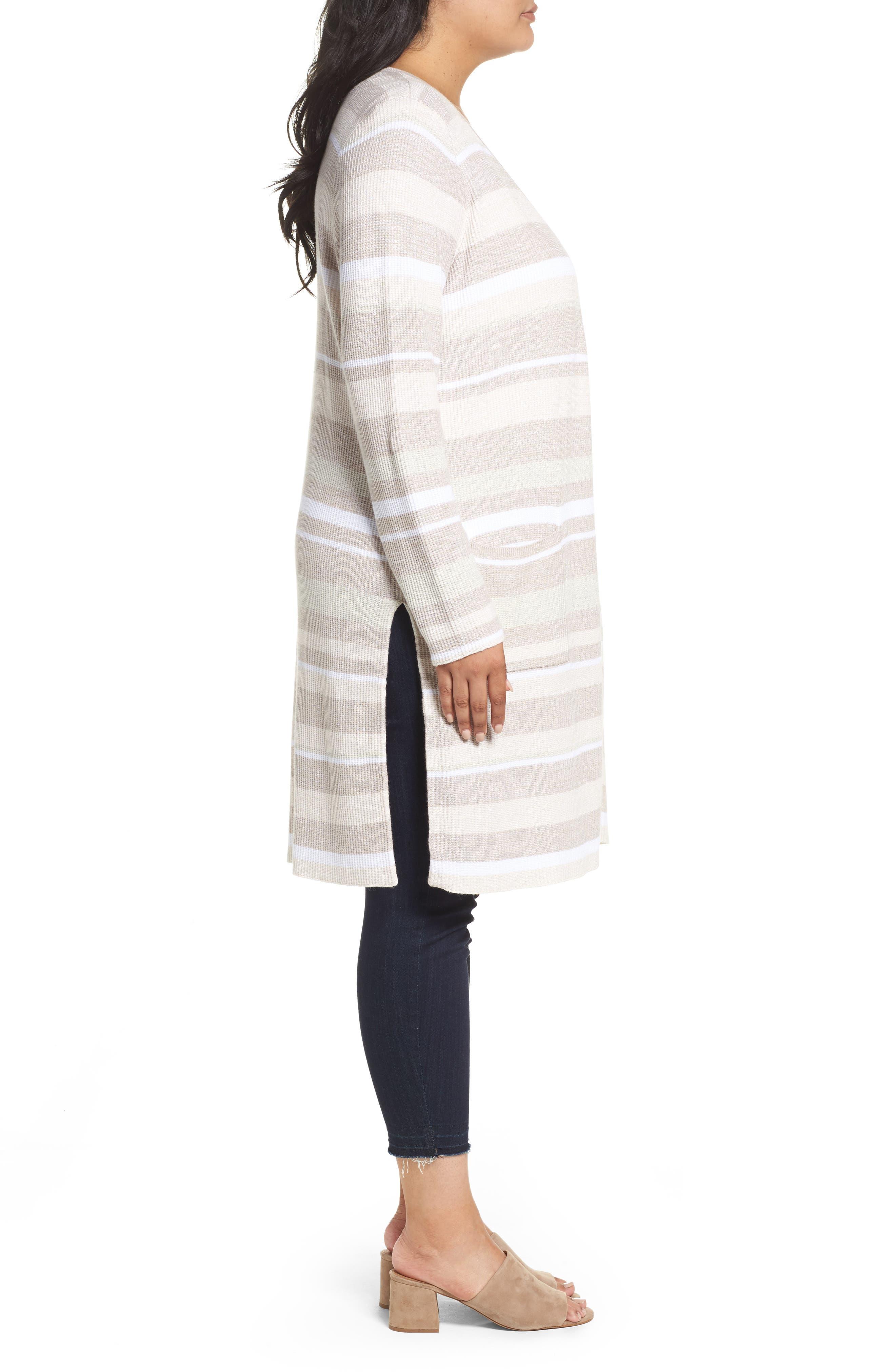 Rhona Textured Stripe Longline Cardigan,                             Alternate thumbnail 3, color,                             Neutral