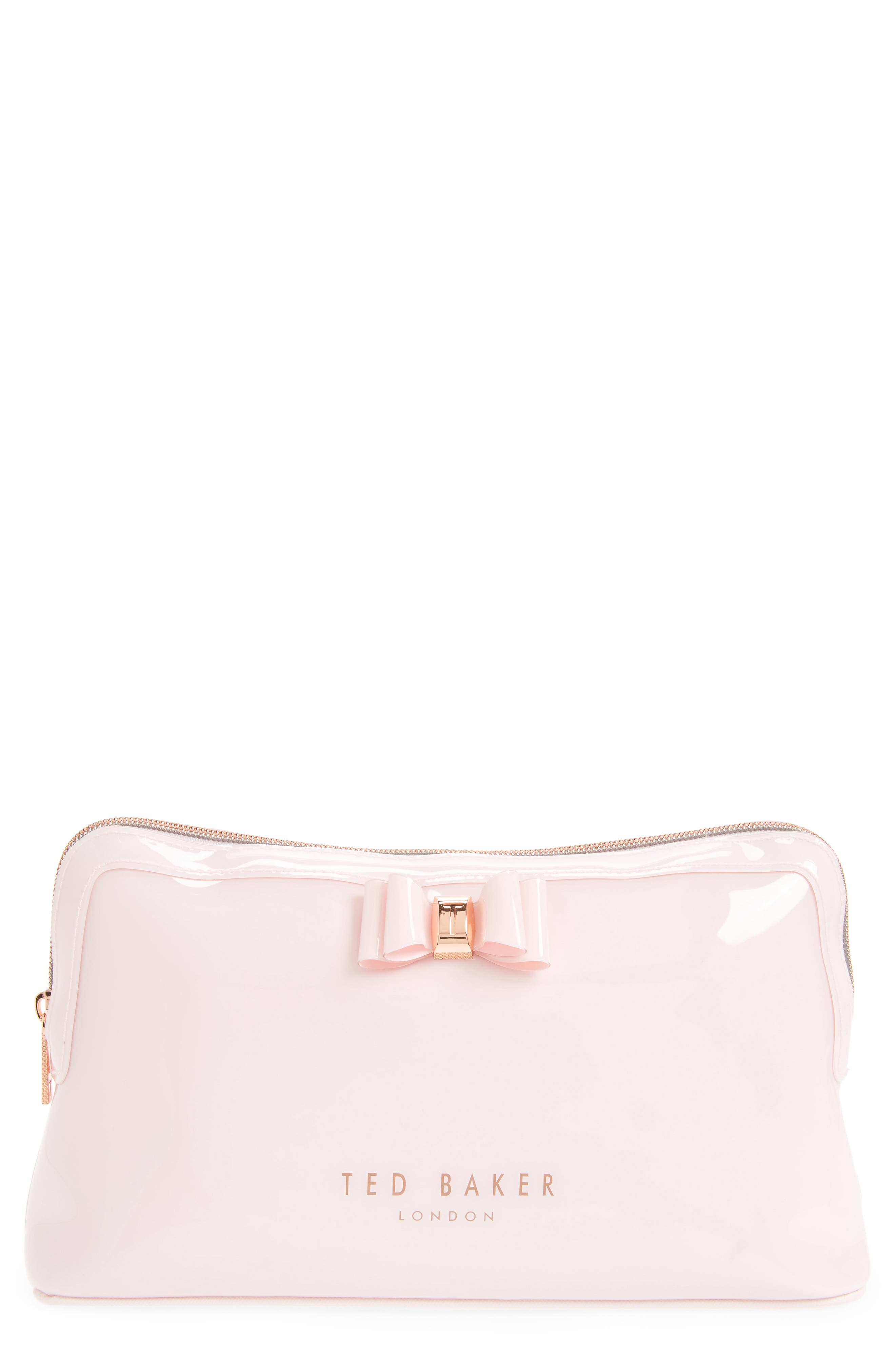 Jana Bow Cosmetic Case,                             Main thumbnail 1, color,                             Dusky Pink