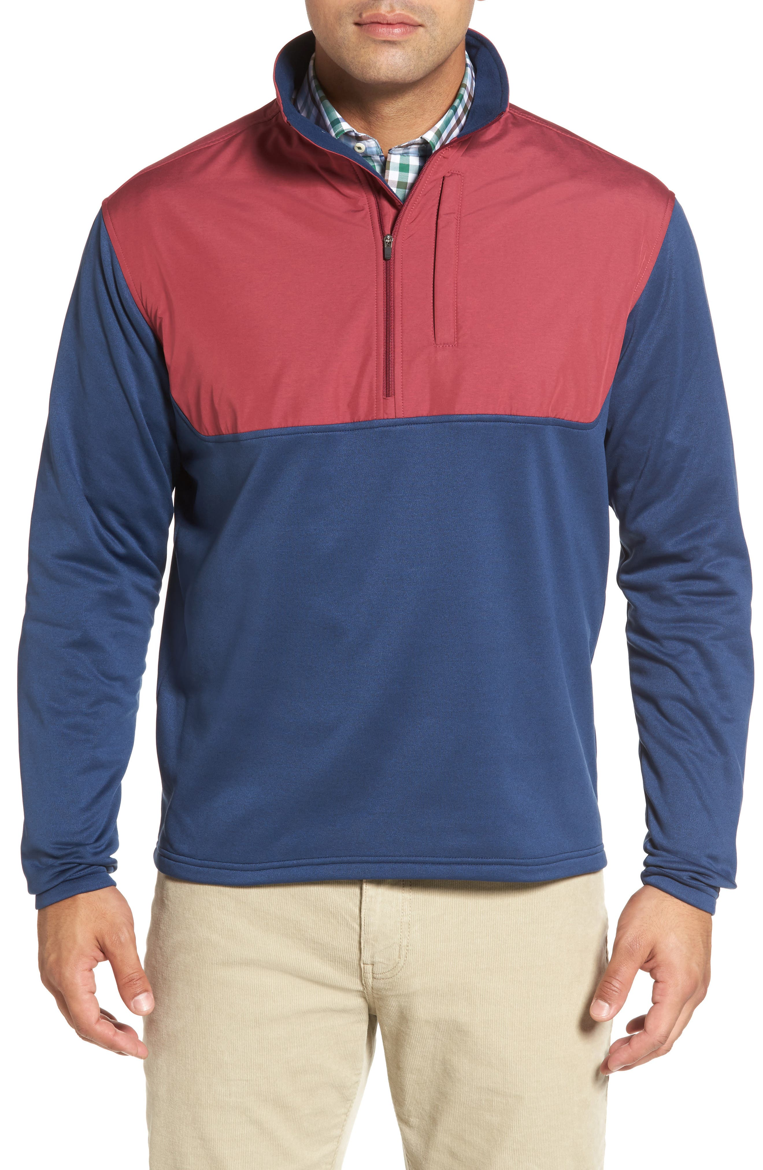 Cameron Hybrid Half Zip Pullover,                             Main thumbnail 1, color,                             Midnight/ French Wine