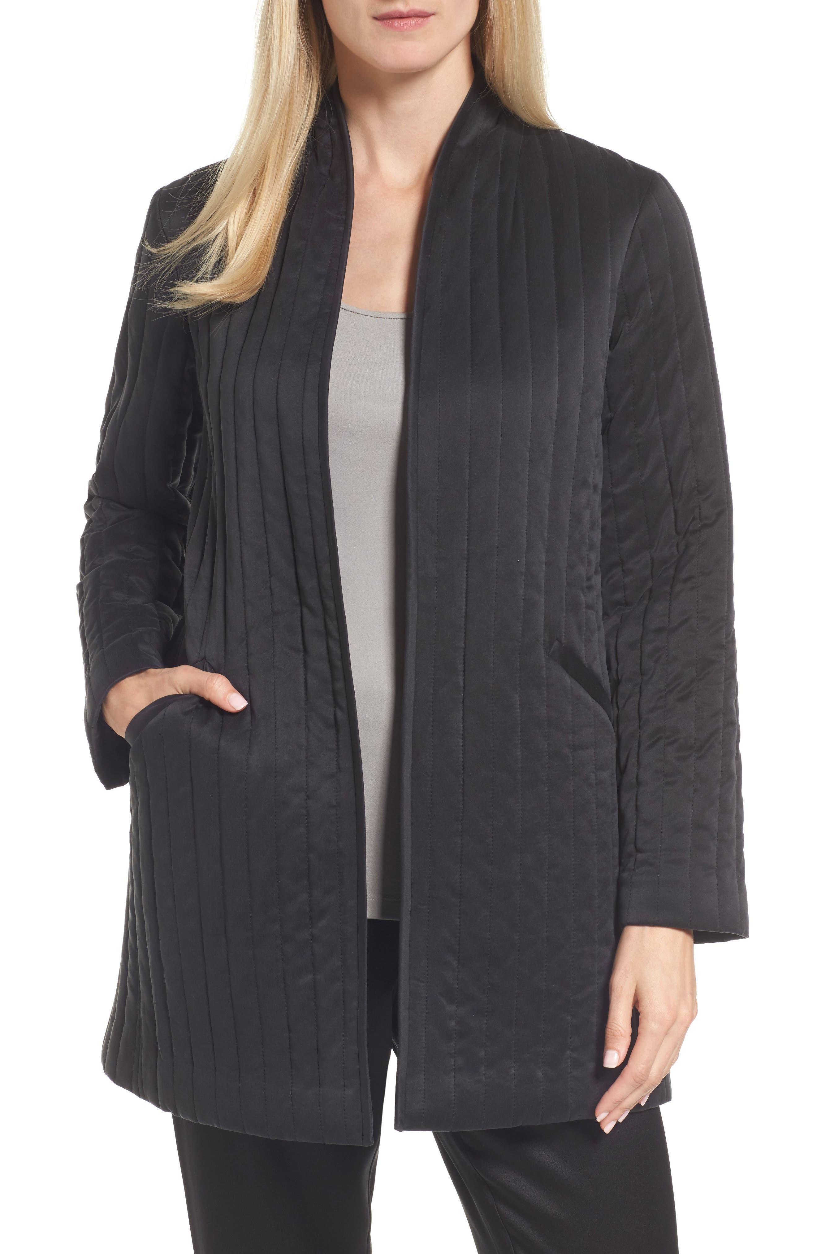 High Collar Silk Jacket,                         Main,                         color, Black