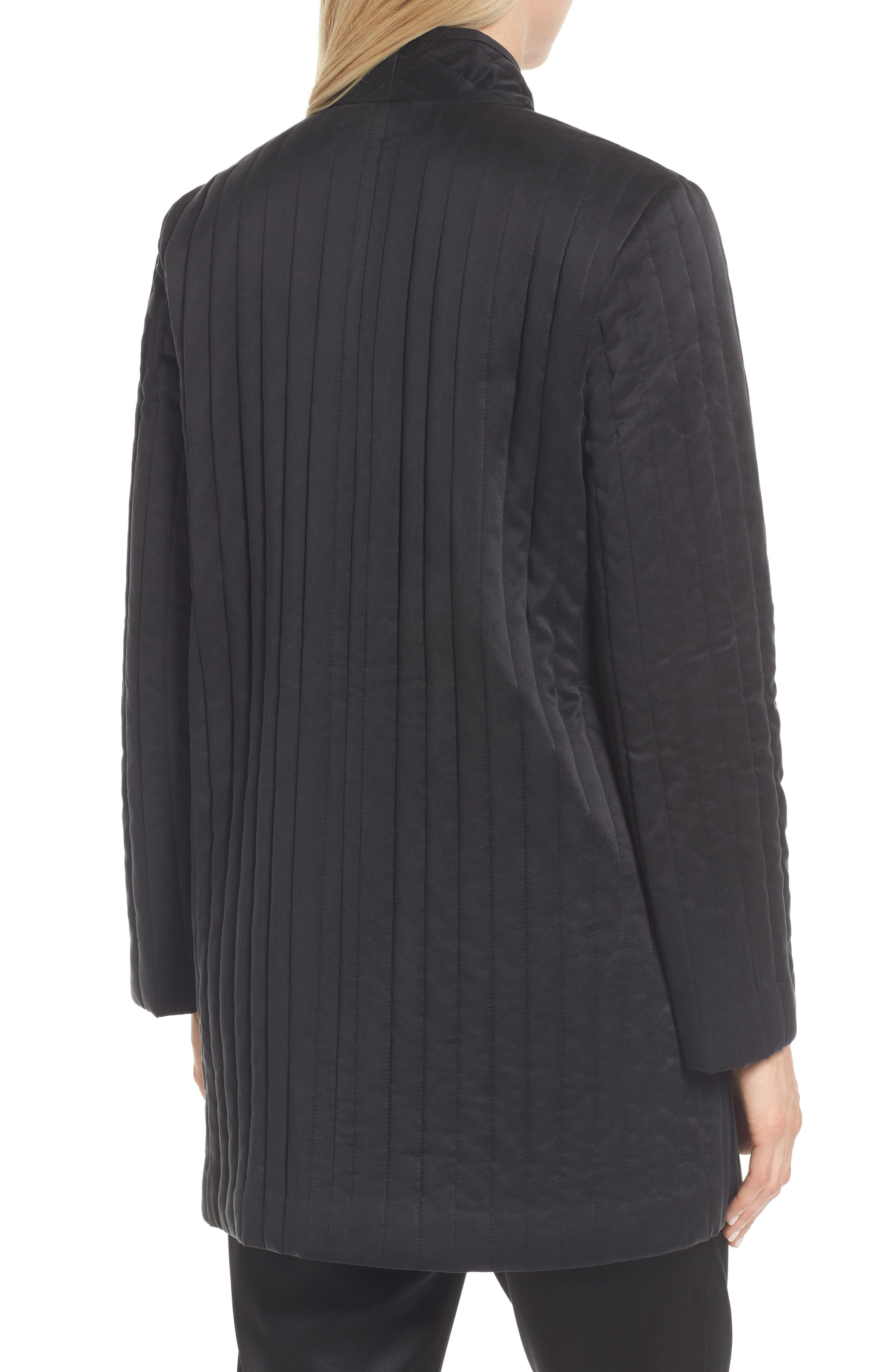 High Collar Silk Jacket,                             Alternate thumbnail 2, color,                             Black