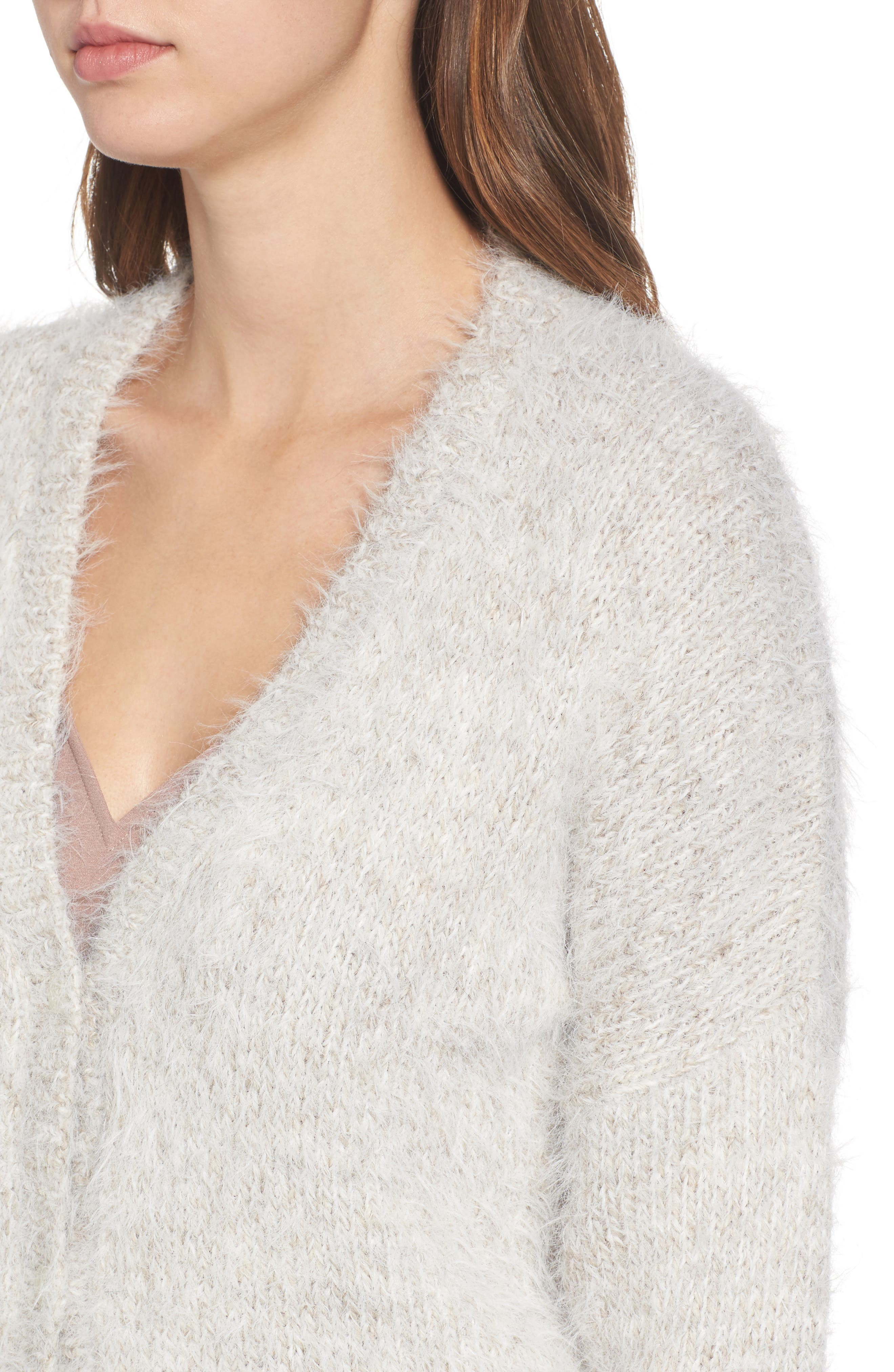 Fuzzy Cardigan,                             Alternate thumbnail 4, color,                             Grey Chateau