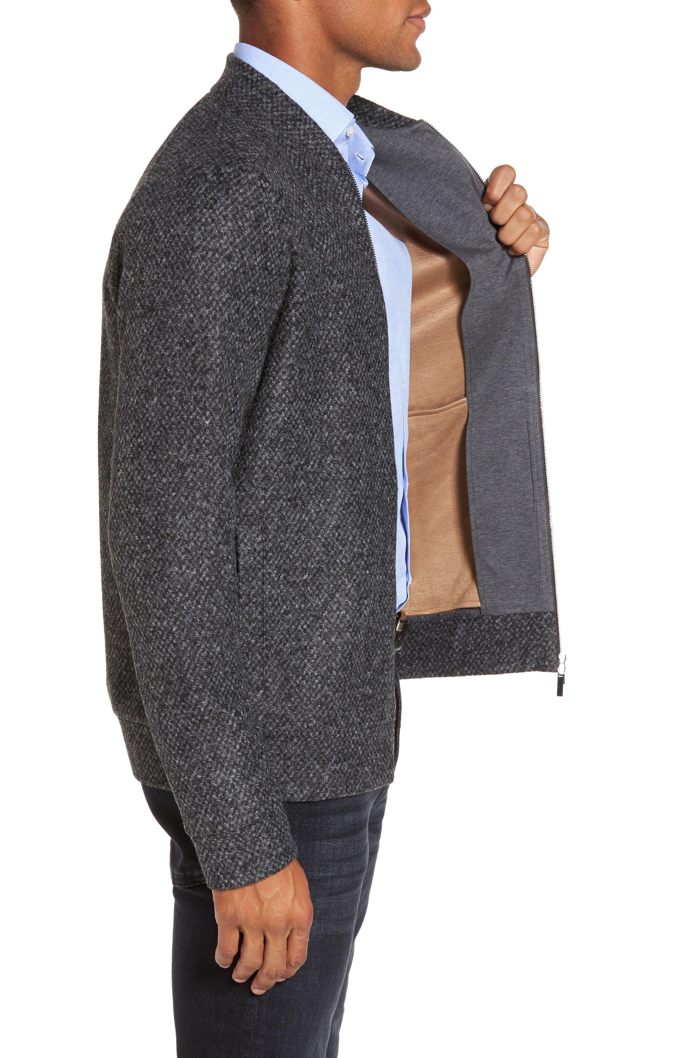 Salea Slim Fit Bomber Jacket,                             Alternate thumbnail 3, color,                             Grey