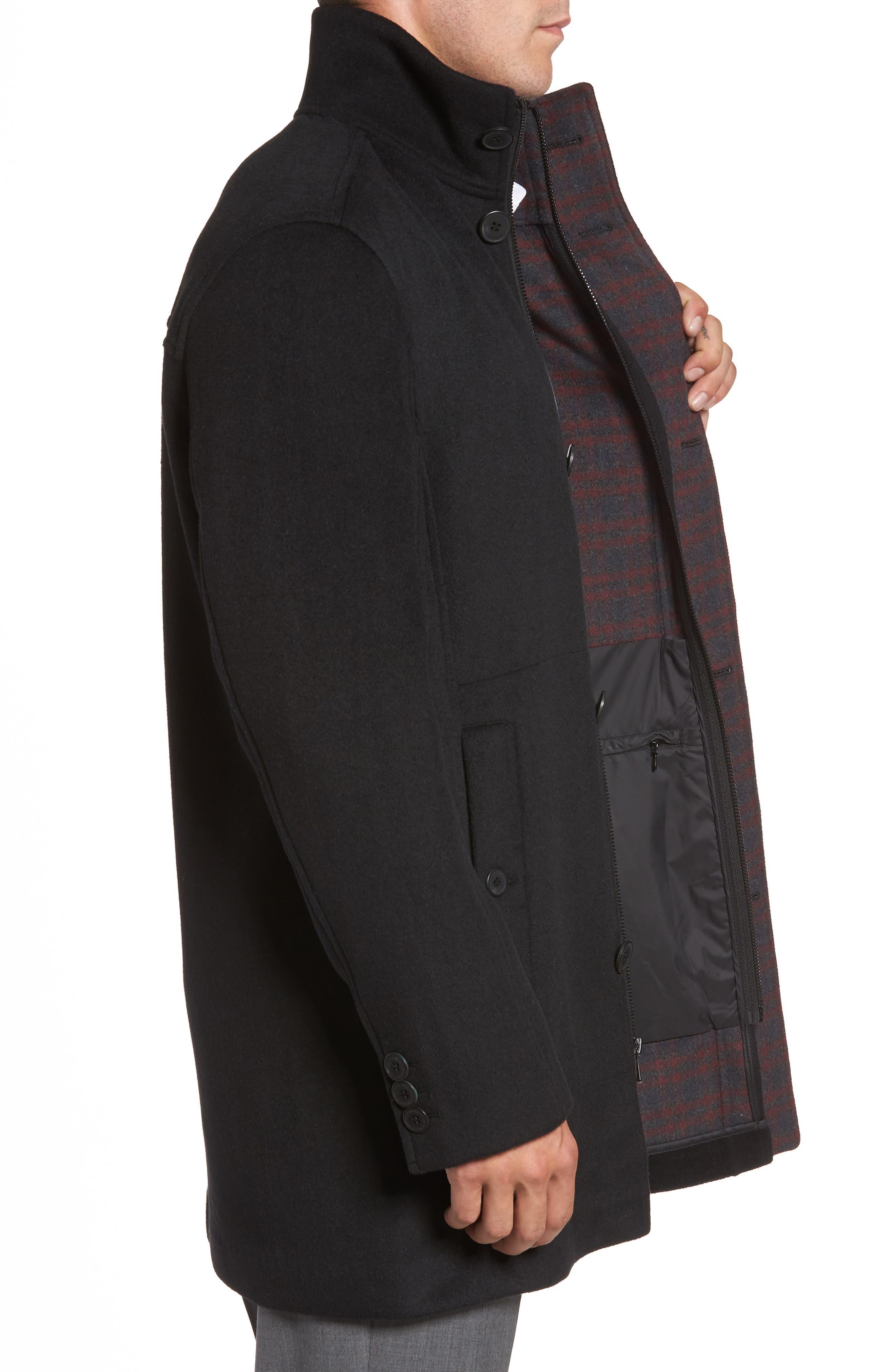 Double Face Wool Blend Car Coat,                             Alternate thumbnail 3, color,                             Black