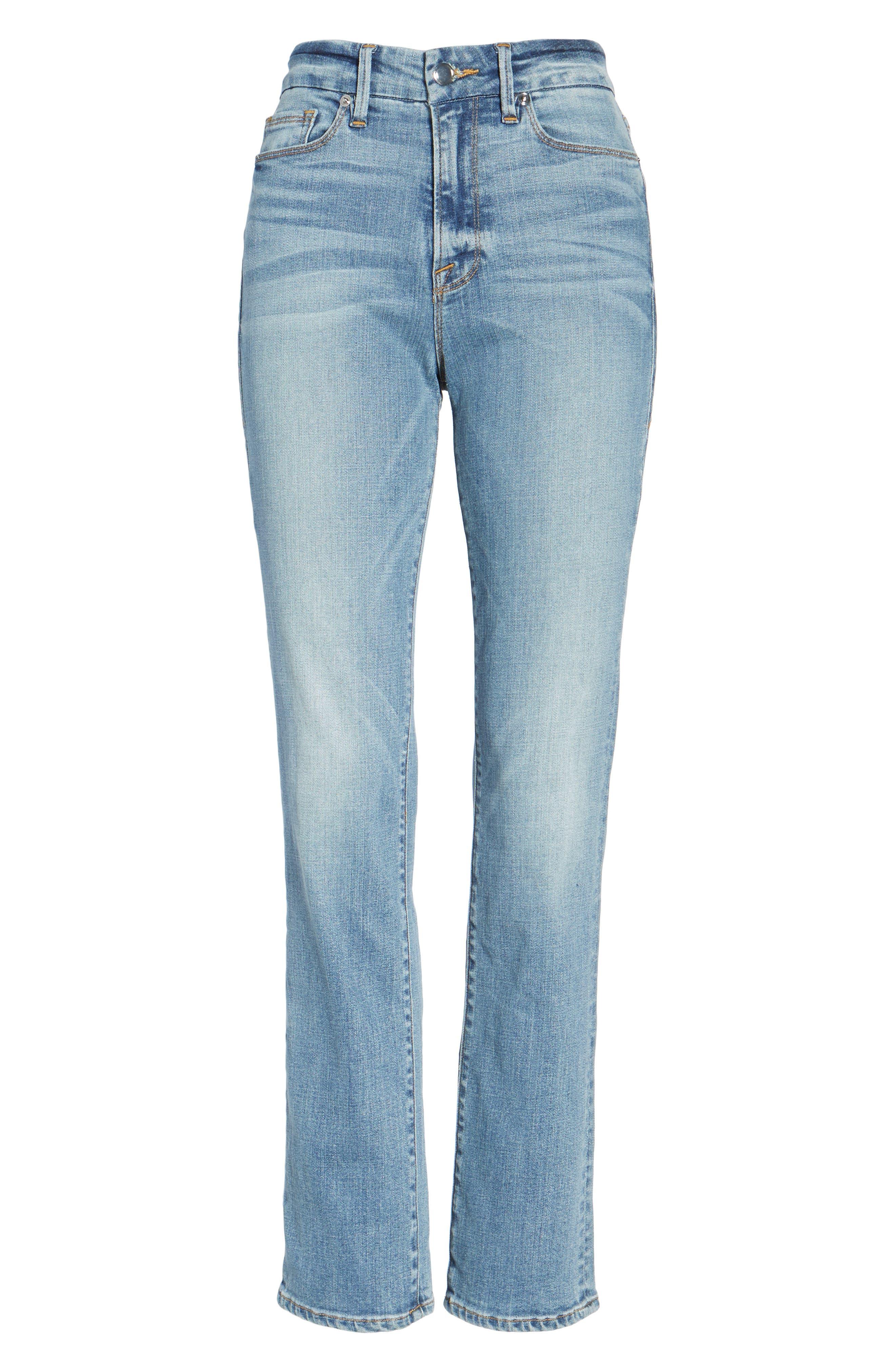 Alternate Image 8  - Good American Good Straight High Rise Jeans (Blue 087) (Regular & Plus Size)