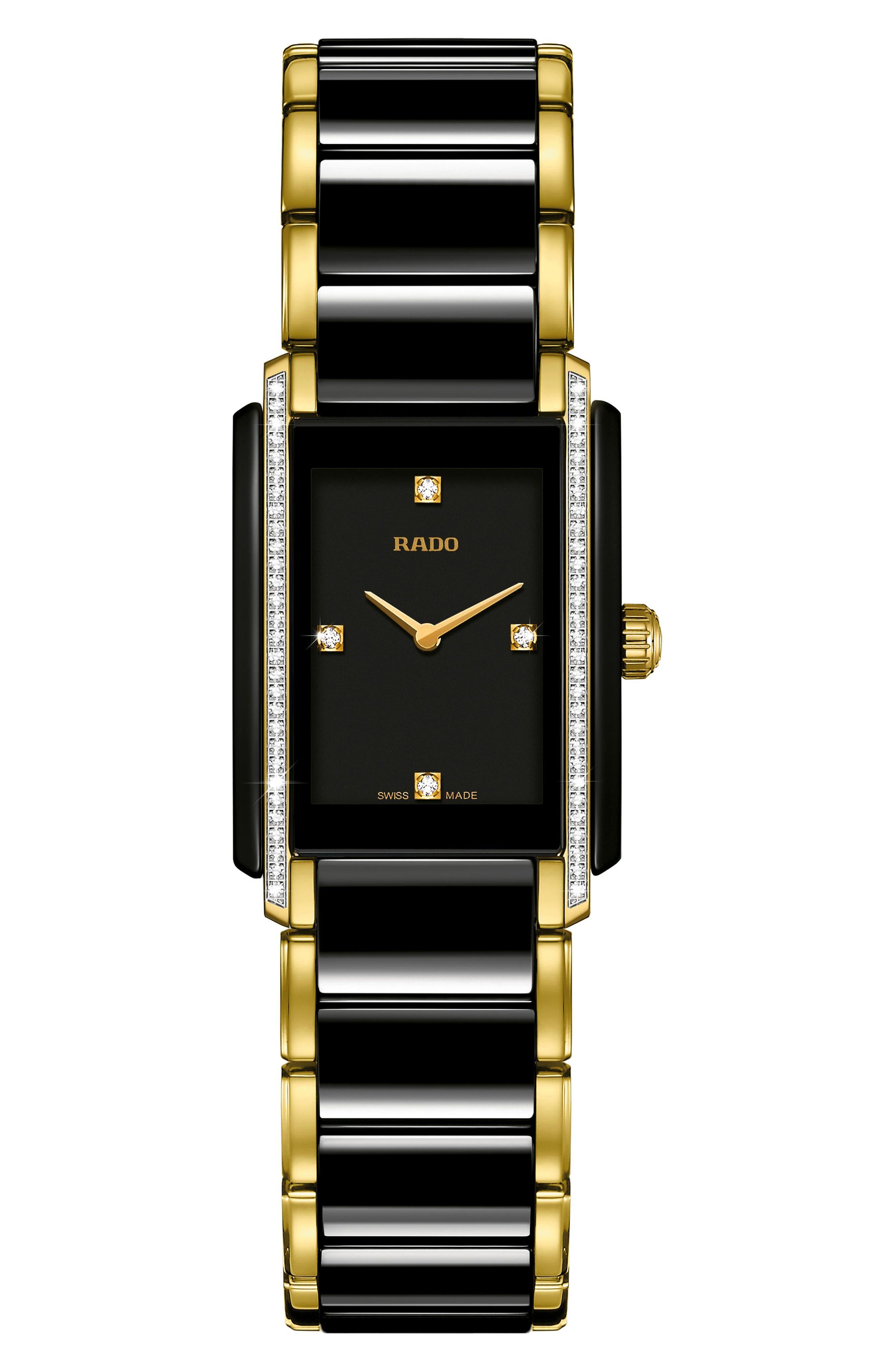 RADO Integral Diamond Ceramic Bracelet Watch, 22.7mm x 33.1mm