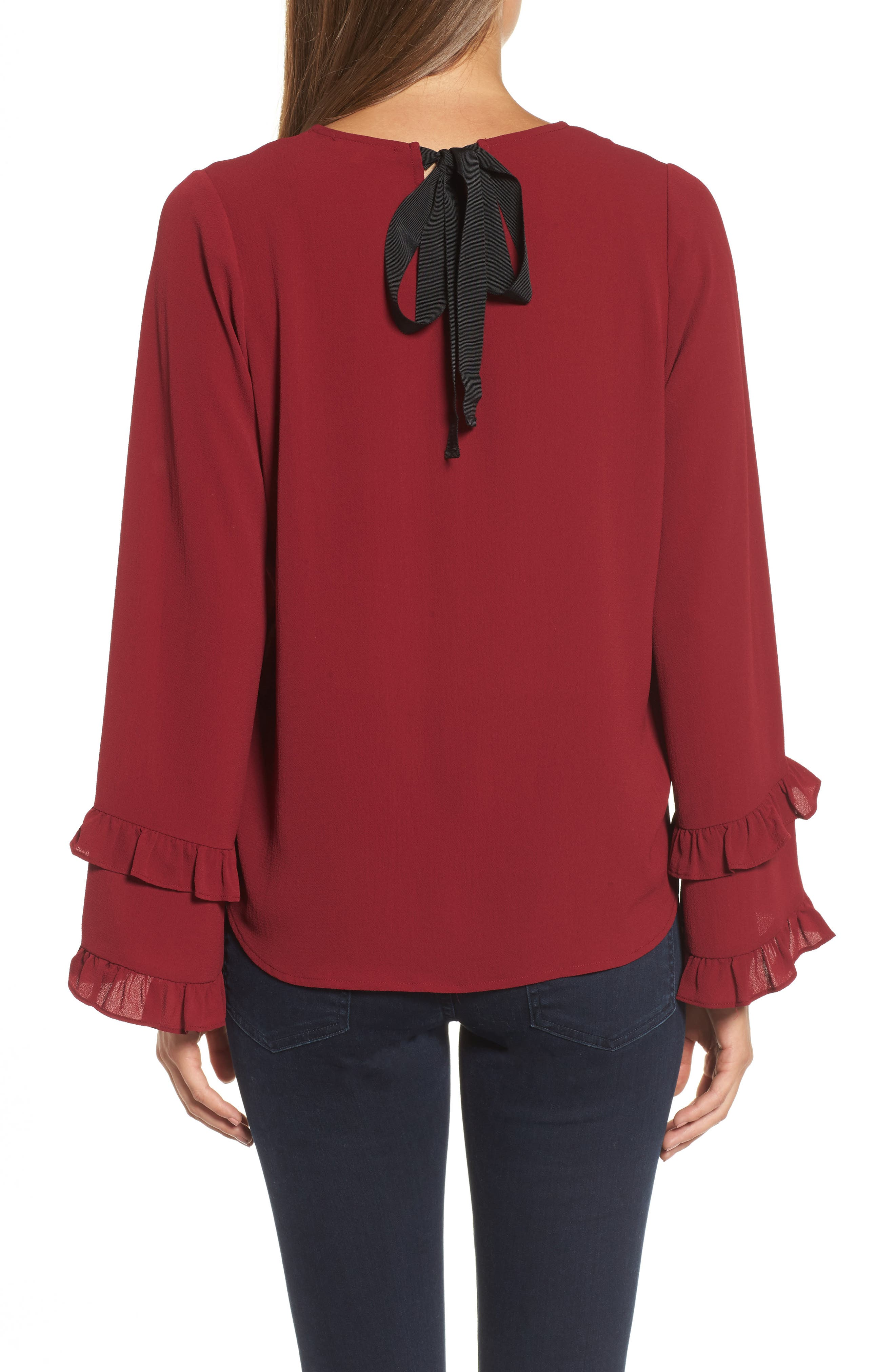 Ruffle Bell Sleeve Top,                             Alternate thumbnail 2, color,                             Wine