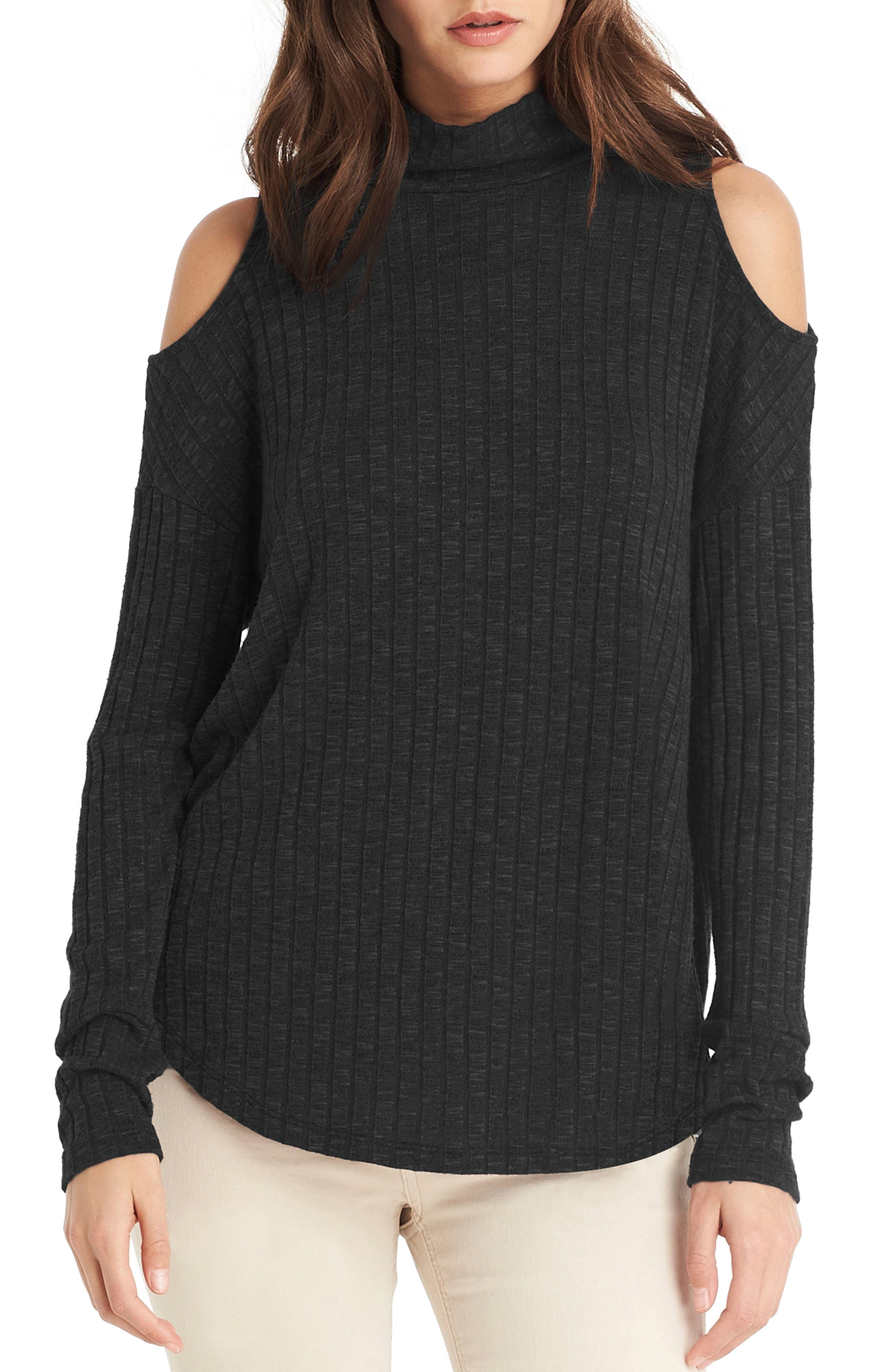 Michael Stars Cold Shoulder Turtleneck Top