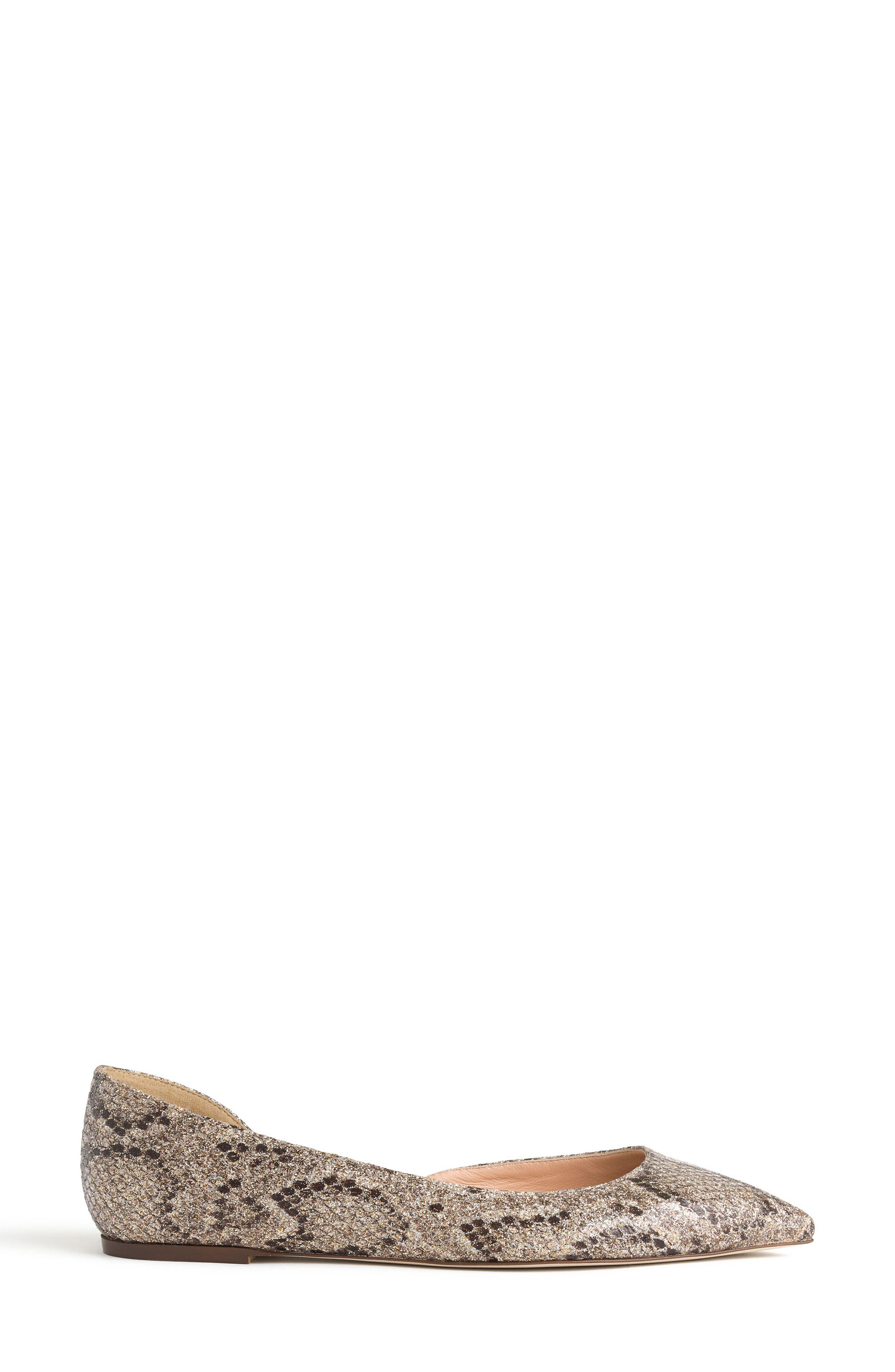 J.Crew Sadie Glitter Flat,                             Alternate thumbnail 2, color,                             Gold Brown Glitter Fabric