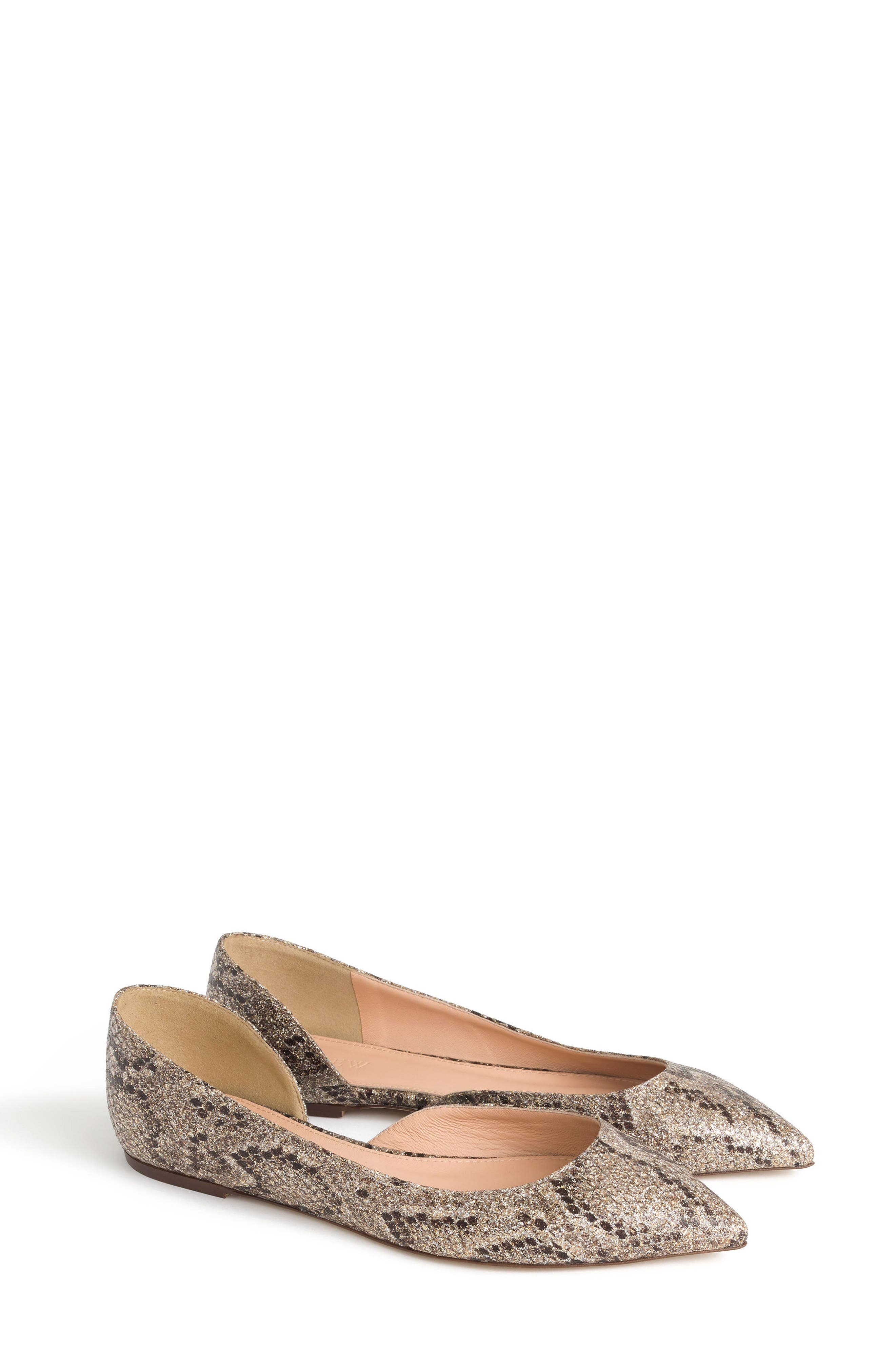 J.Crew Sadie Glitter Flat,                             Main thumbnail 1, color,                             Gold Brown Glitter Fabric