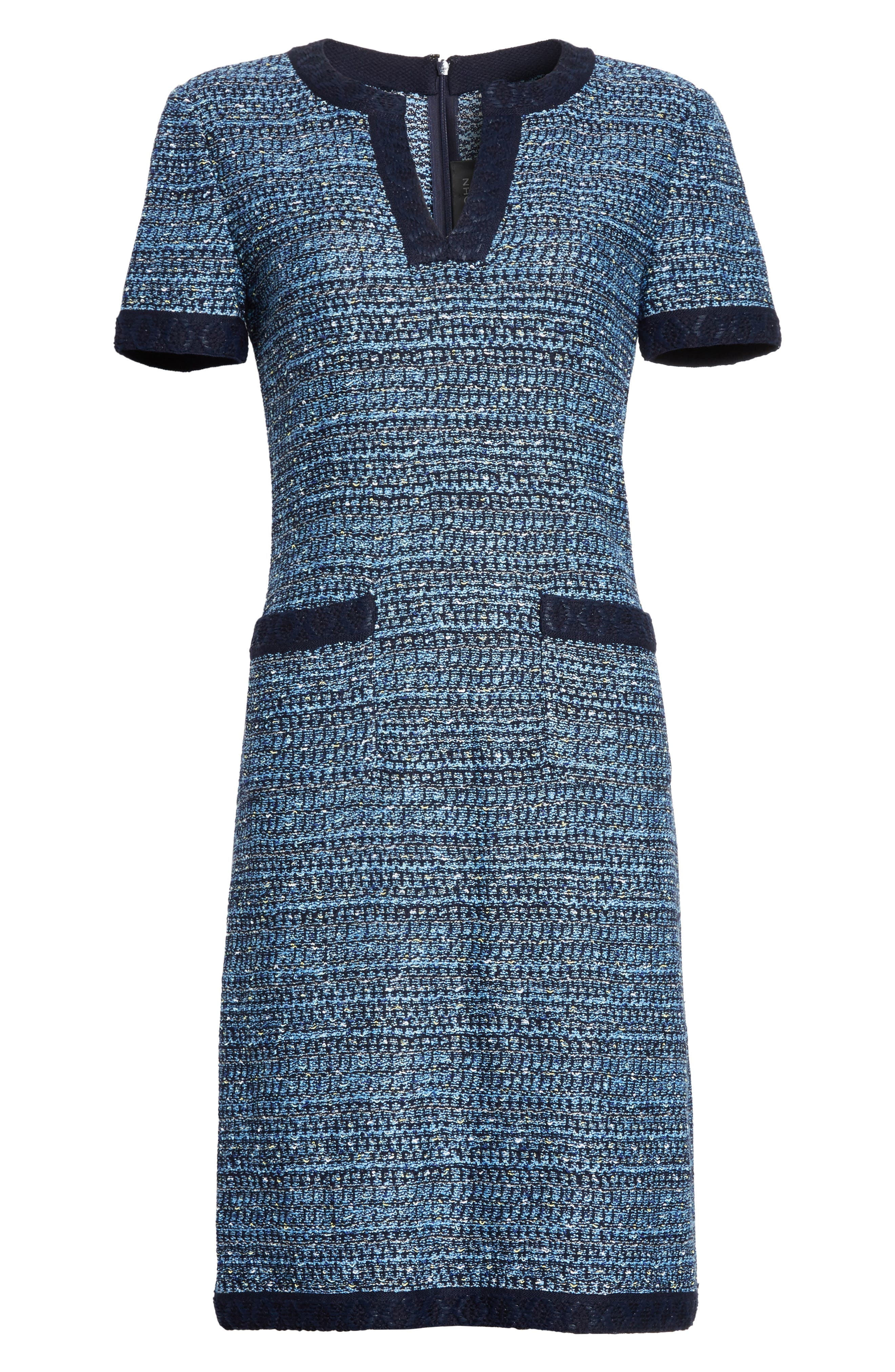 Short Sleeve Knit Dress,                             Alternate thumbnail 7, color,                             Navy Multi