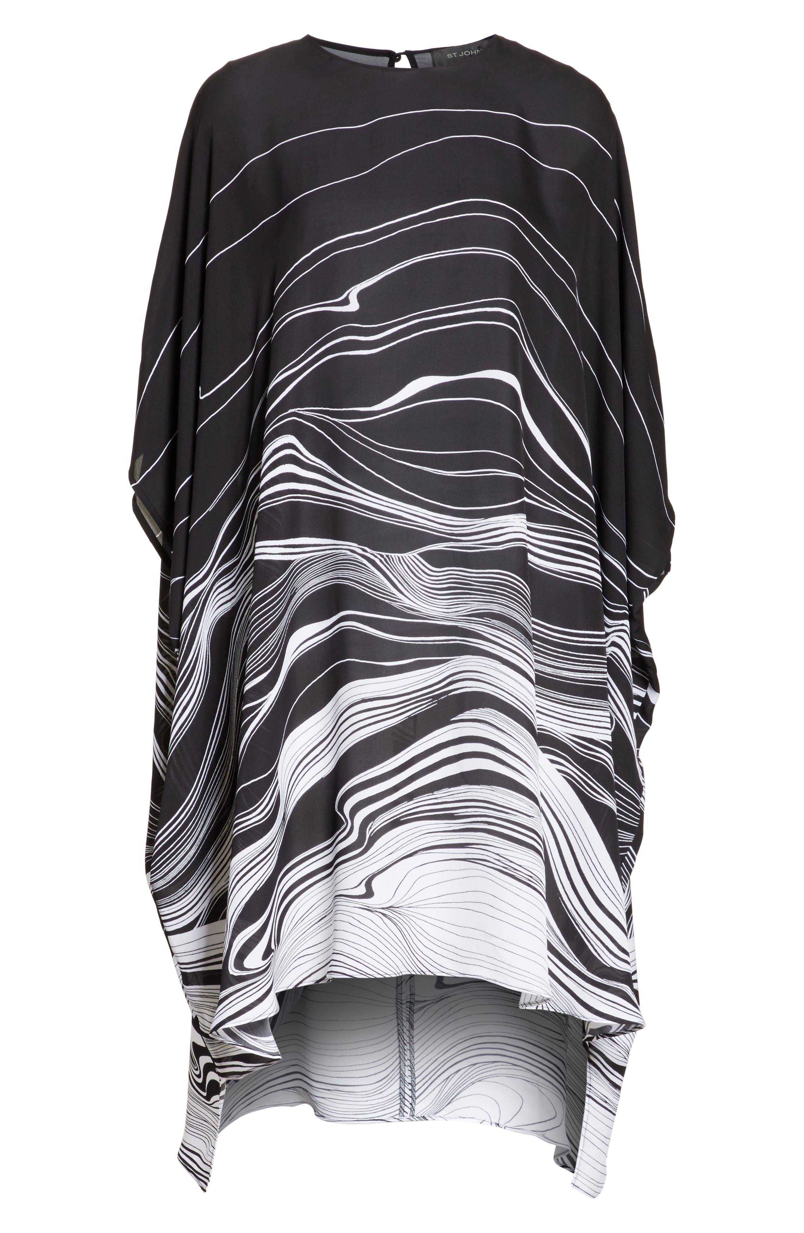 Brushstroke Print Silk Satin Dress,                             Alternate thumbnail 7, color,                             Caviar/ Bianco