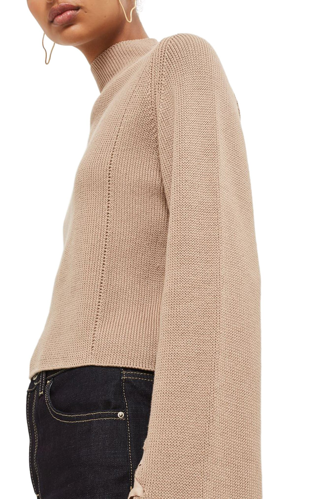 Lace Sleeve Funnel Neck Sweater,                             Alternate thumbnail 4, color,                             Mink