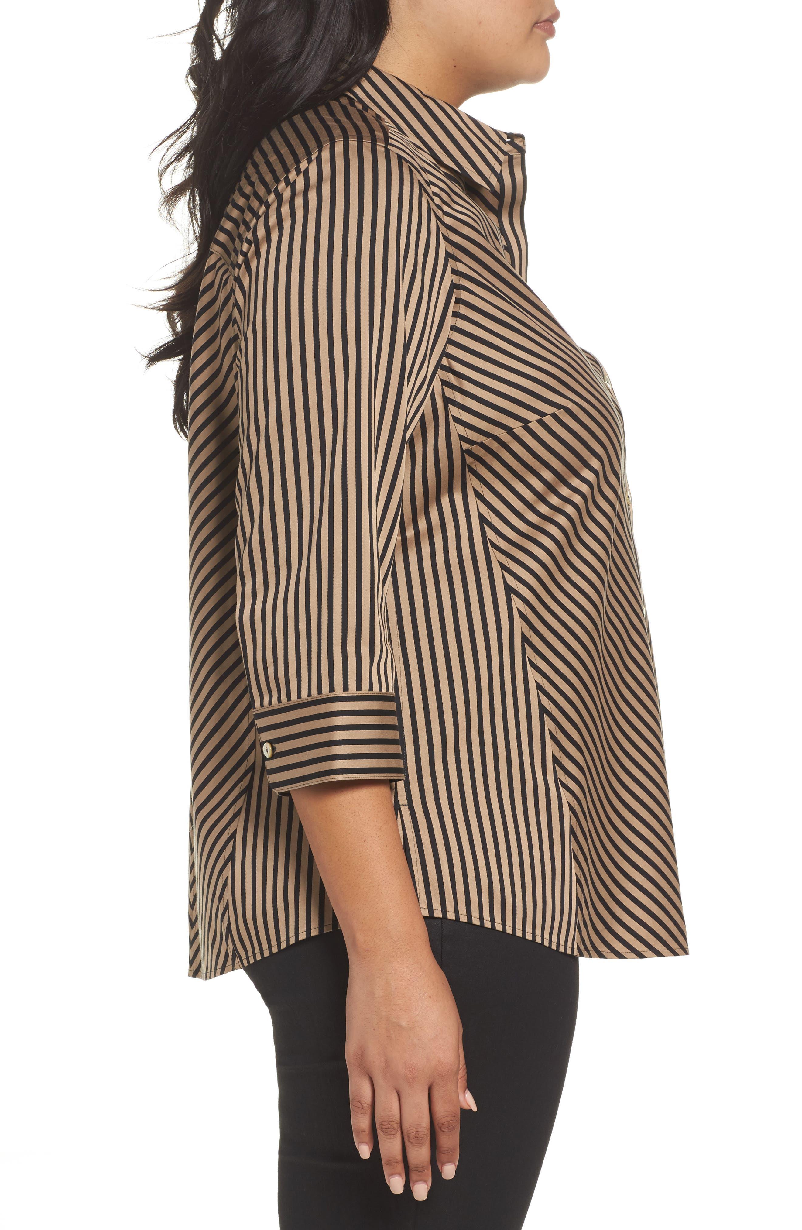 Alternate Image 3  - Foxcroft Fallon Satin Stripe Cotton Shirt (Plus Size)