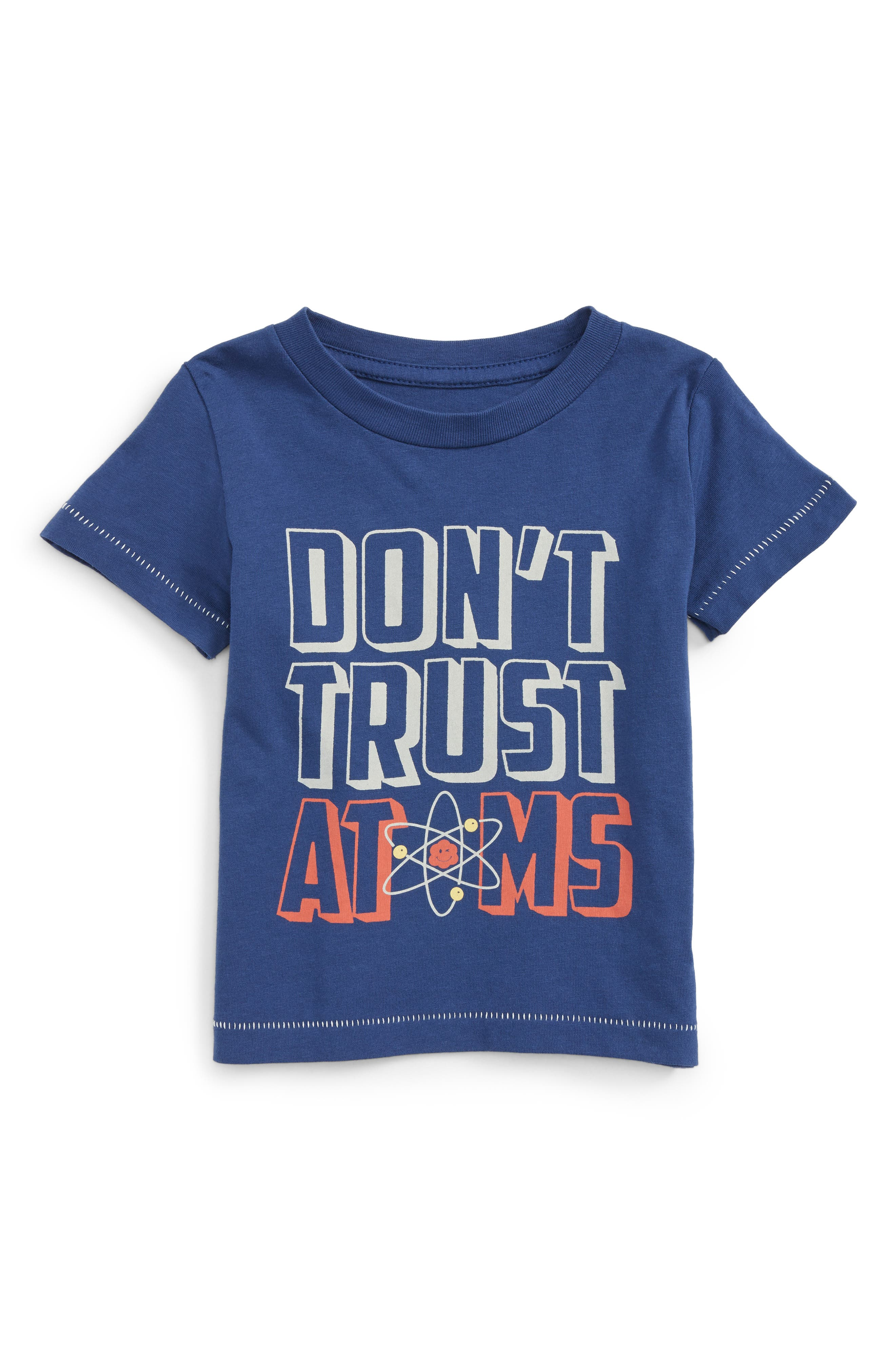 Don't Trust Atoms T-Shirt,                             Main thumbnail 1, color,                             Blue