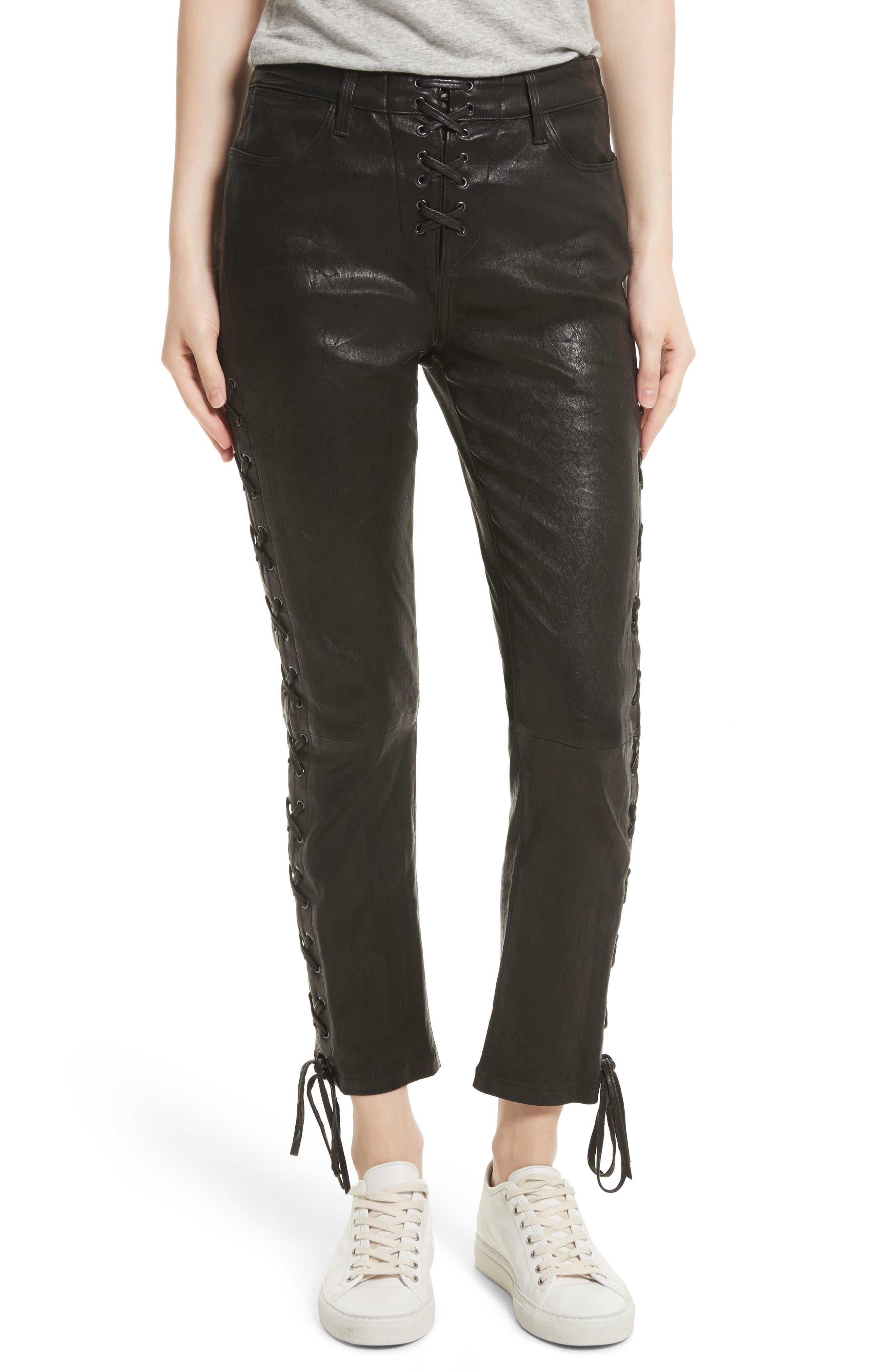 FRAME Lambskin Leather Lace-Up Crop Pants