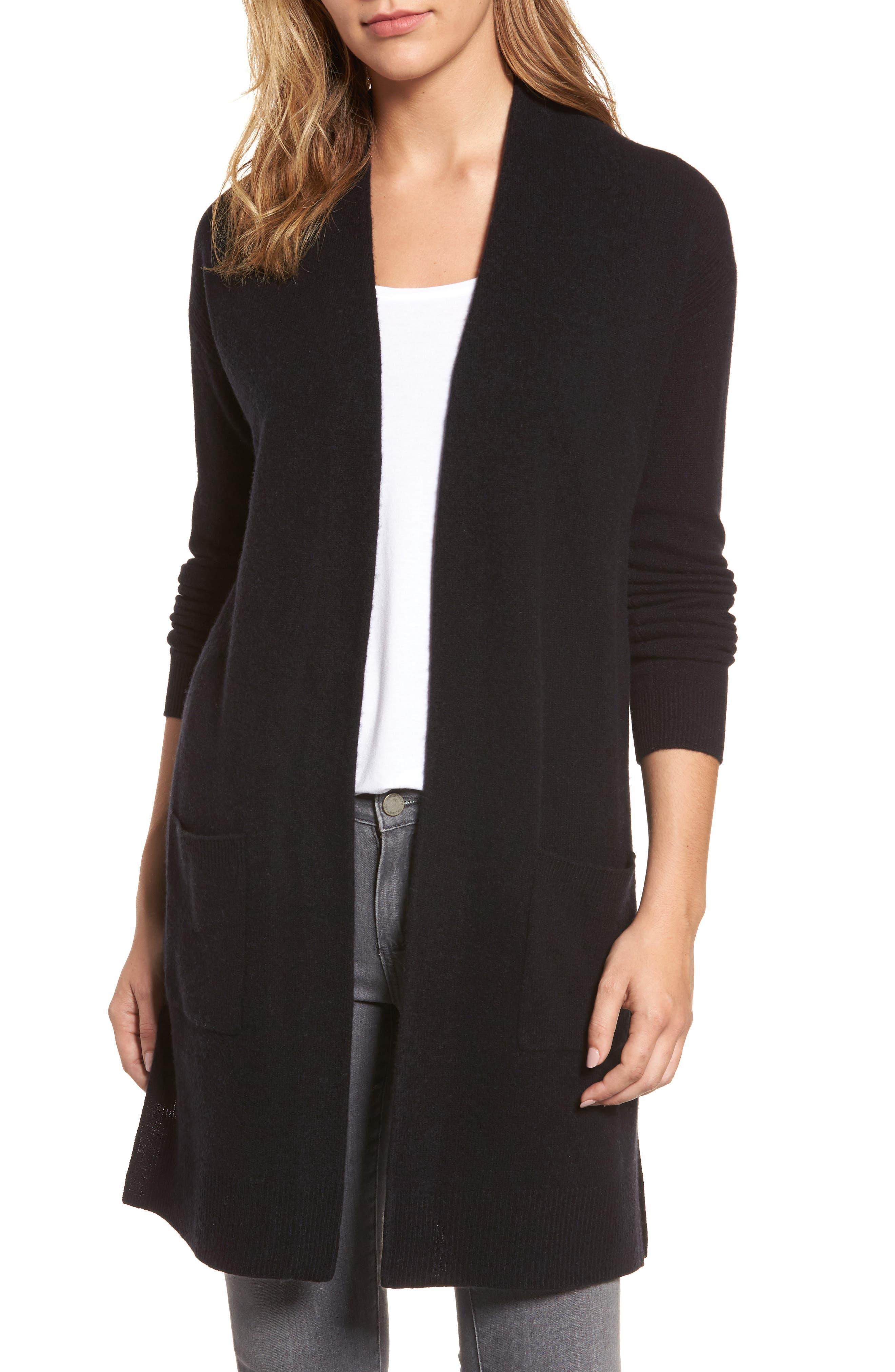 Halogen® Rib Knit Wool & Cashmere Cardigan (Regular & Petite)