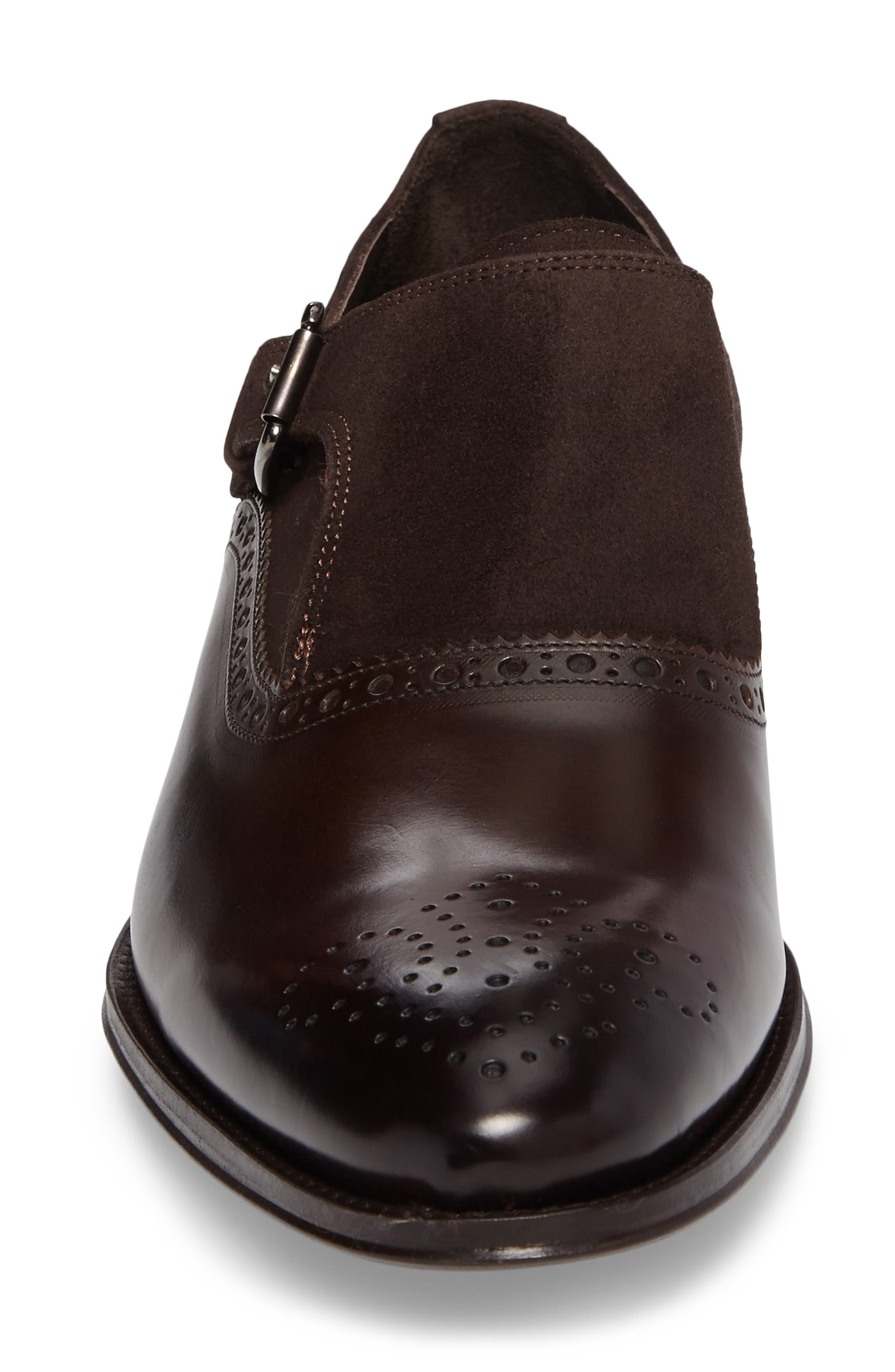 Arcadia Monk Strap Shoe,                             Alternate thumbnail 4, color,                             Brown Leather/ Suede