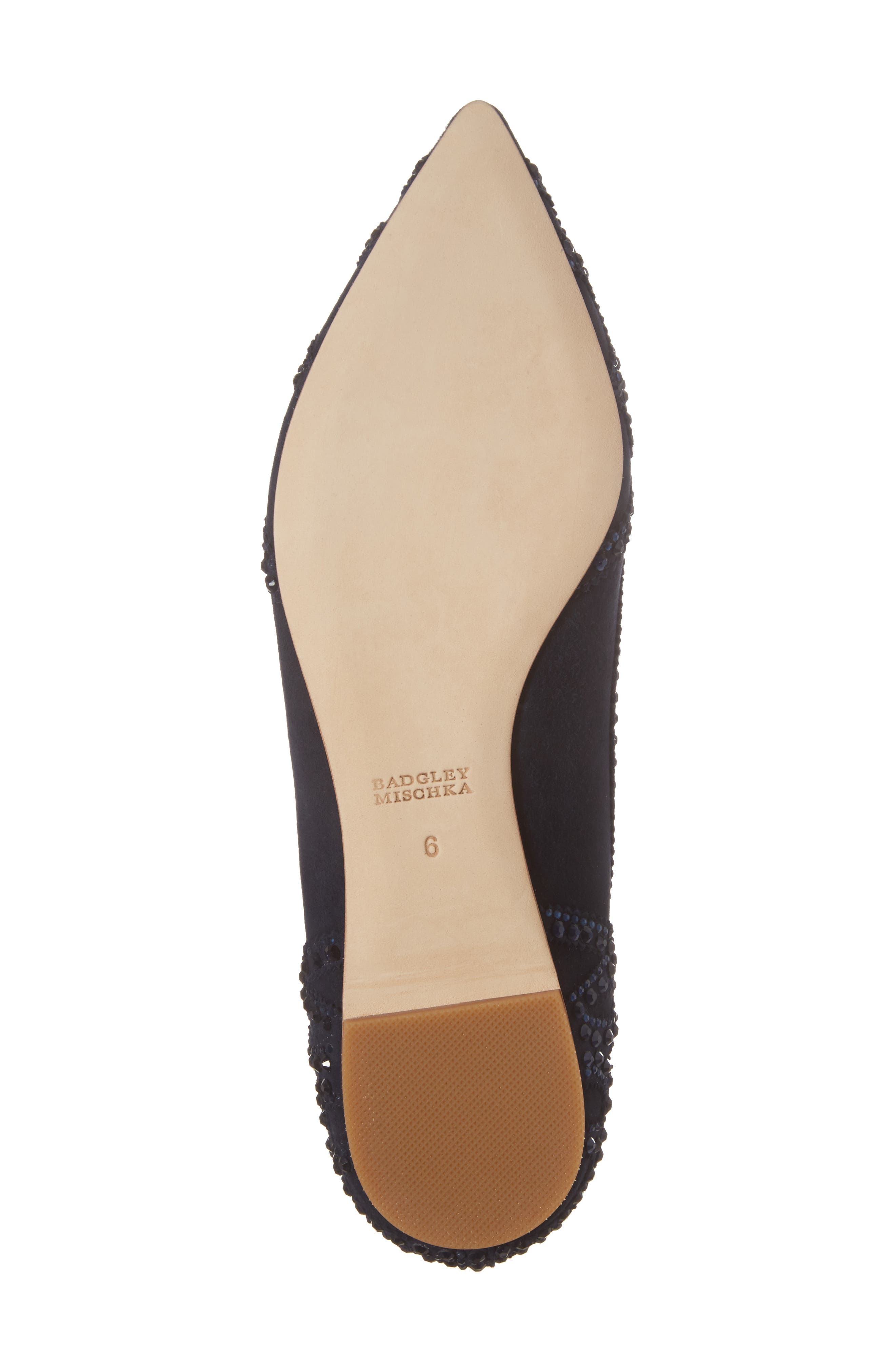 Gigi Crystal Pointy Toe Flat,                             Alternate thumbnail 6, color,                             Midnight Suede