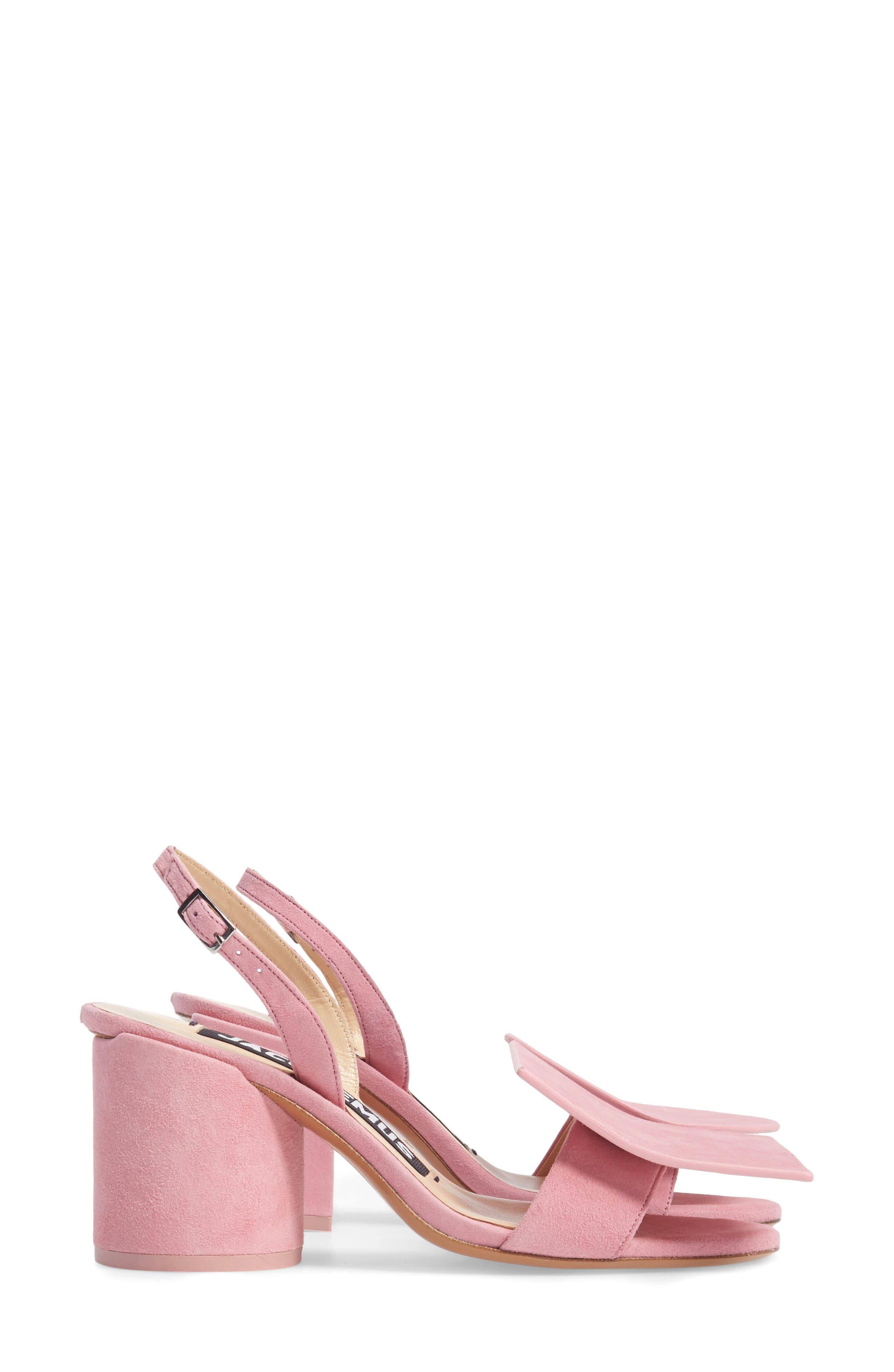 Les Rond Carré Suede Sandal,                             Alternate thumbnail 3, color,                             Pink