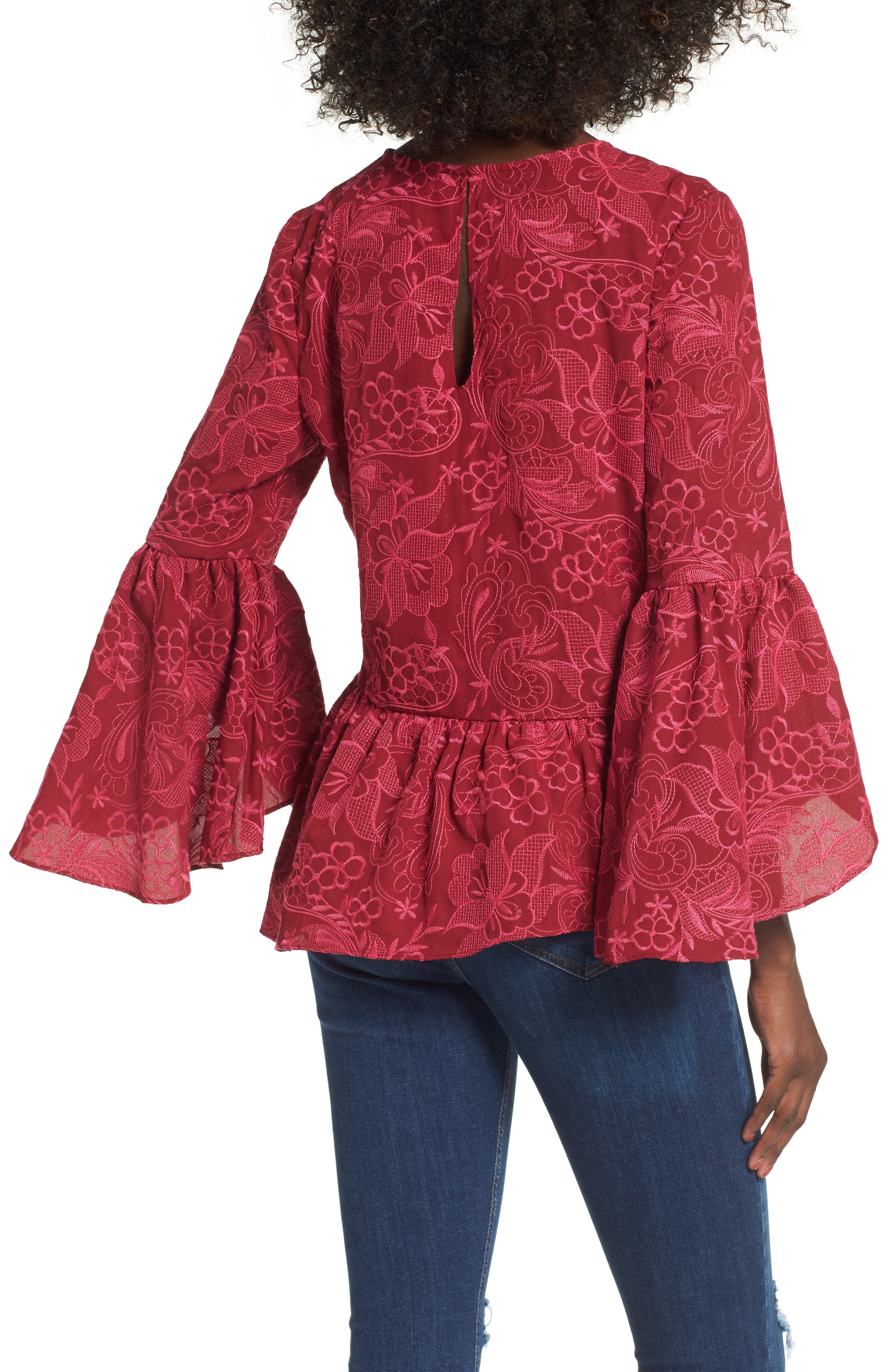 Helena Lace Bell Sleeve Top,                             Alternate thumbnail 2, color,                             Shiraz