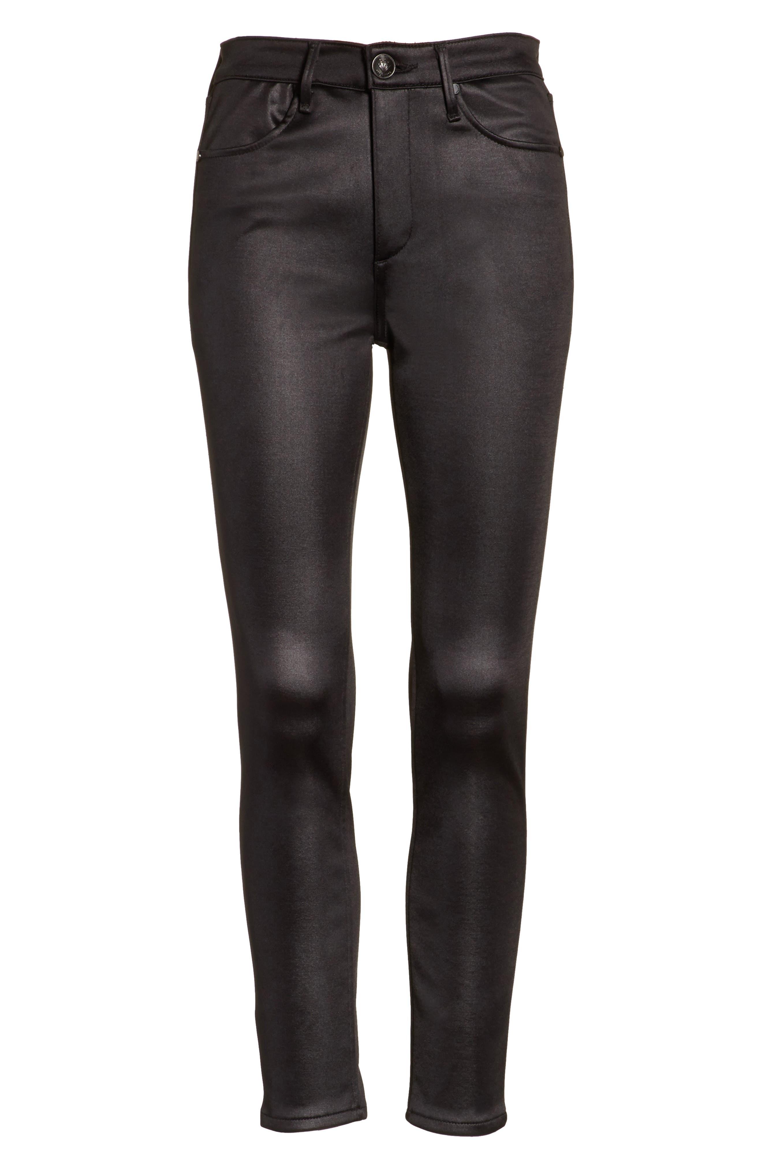 High Waist Ankle Skinny Jeans,                             Alternate thumbnail 6, color,                             Black Sateen
