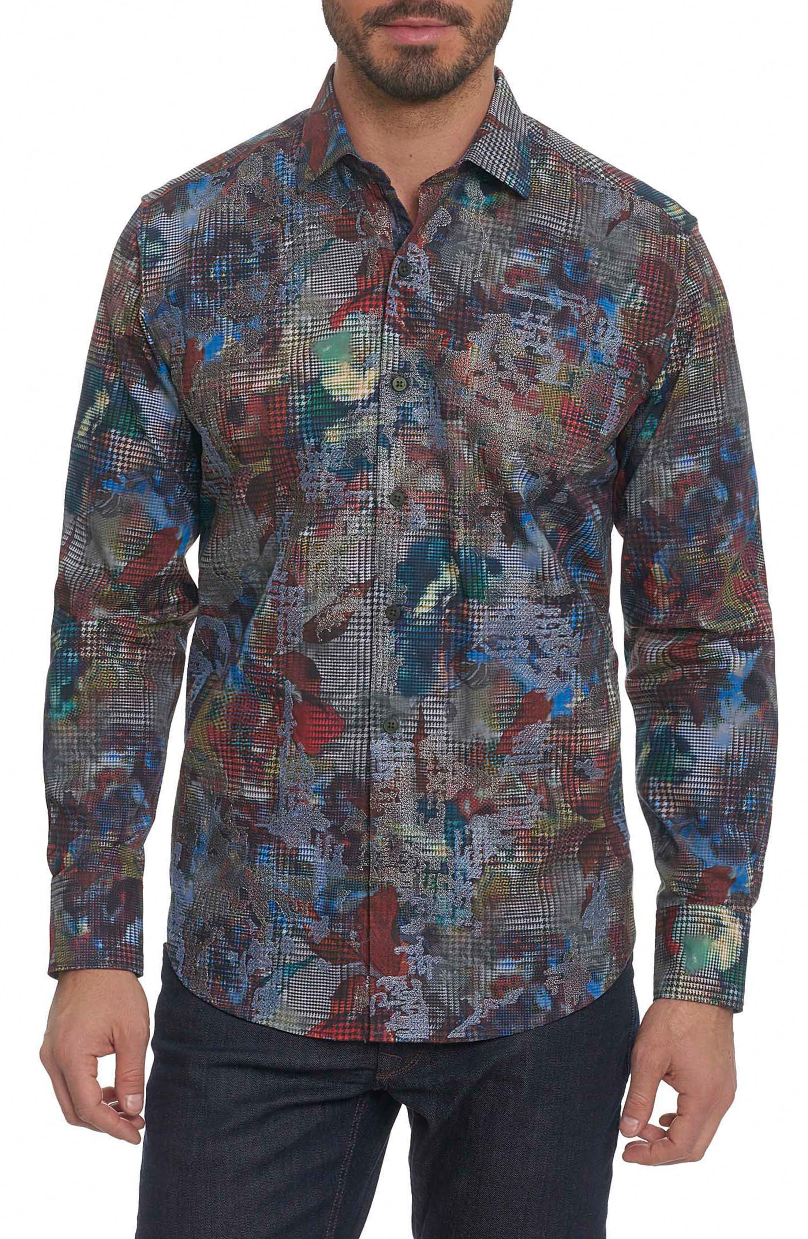 Big Nova Classic Fit Print Sport Shirt,                         Main,                         color, Blue