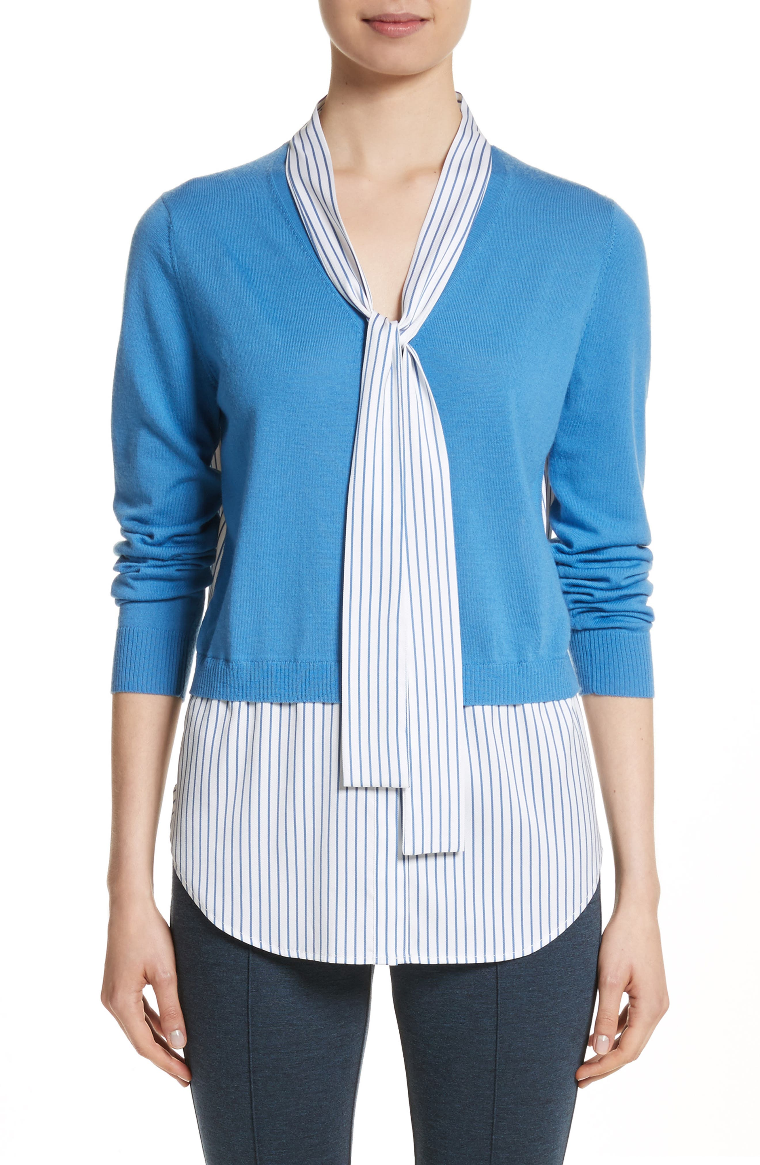 Layered Jersey Knit Cardigan,                         Main,                         color, Niagara