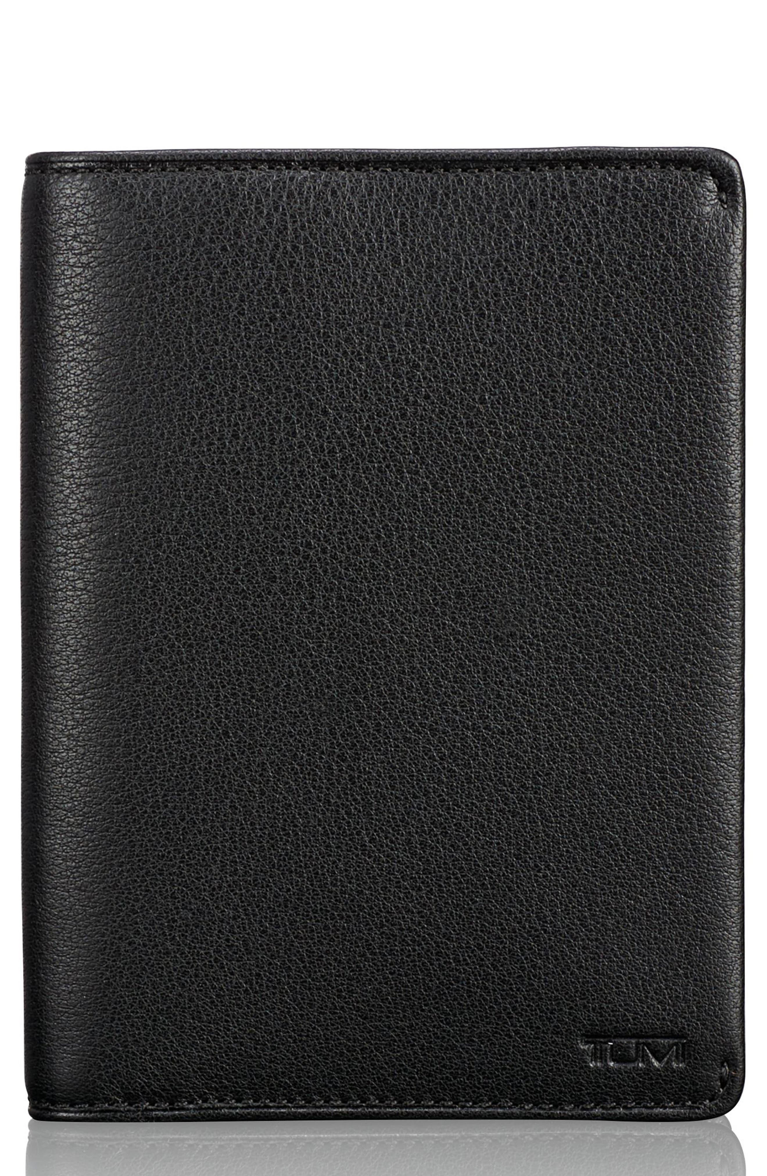 Leather Passport Cover,                         Main,                         color, Black Textured