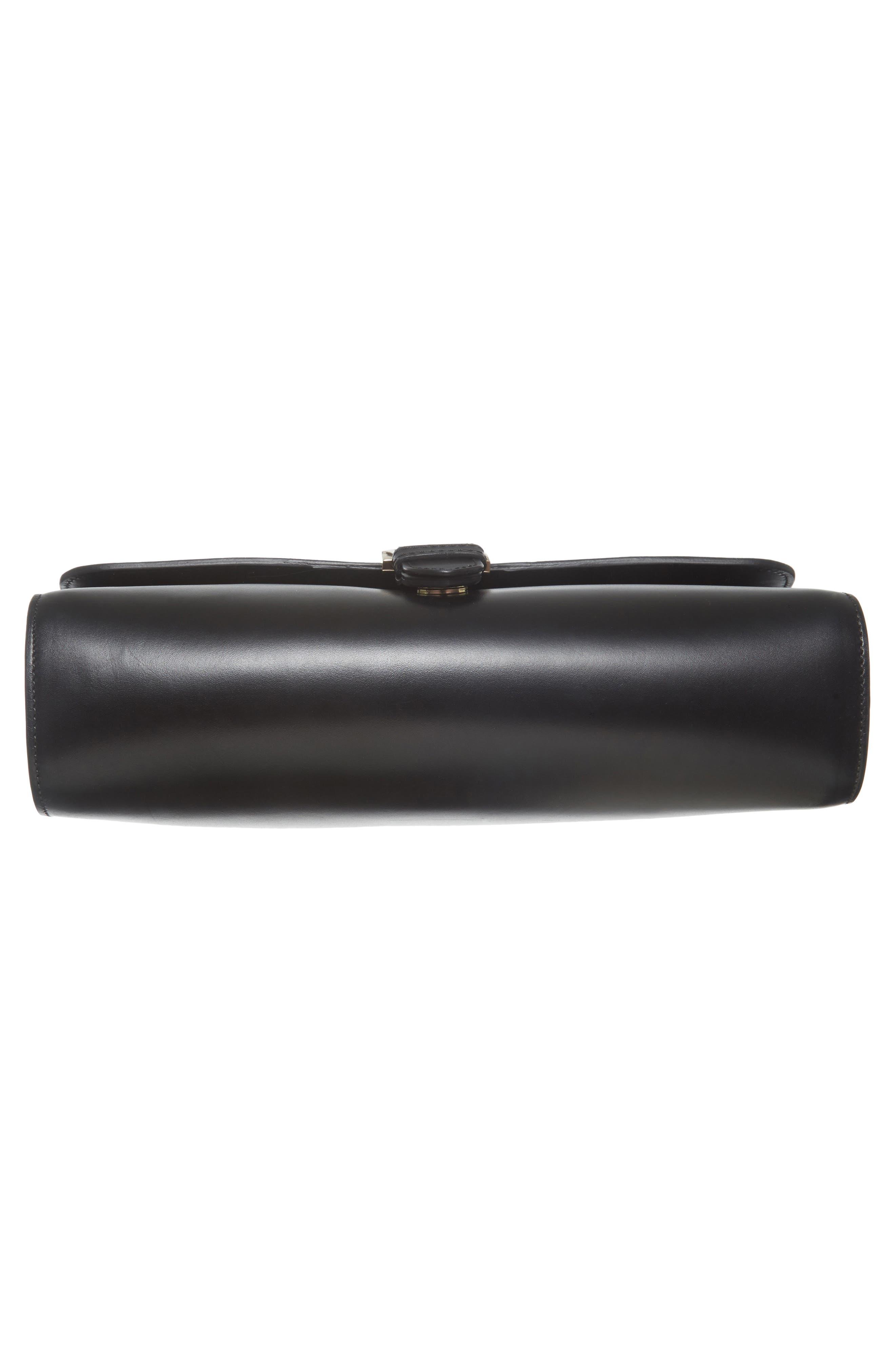 Katy Calfskin Leather Messenger Bag,                             Alternate thumbnail 5, color,                             Noir