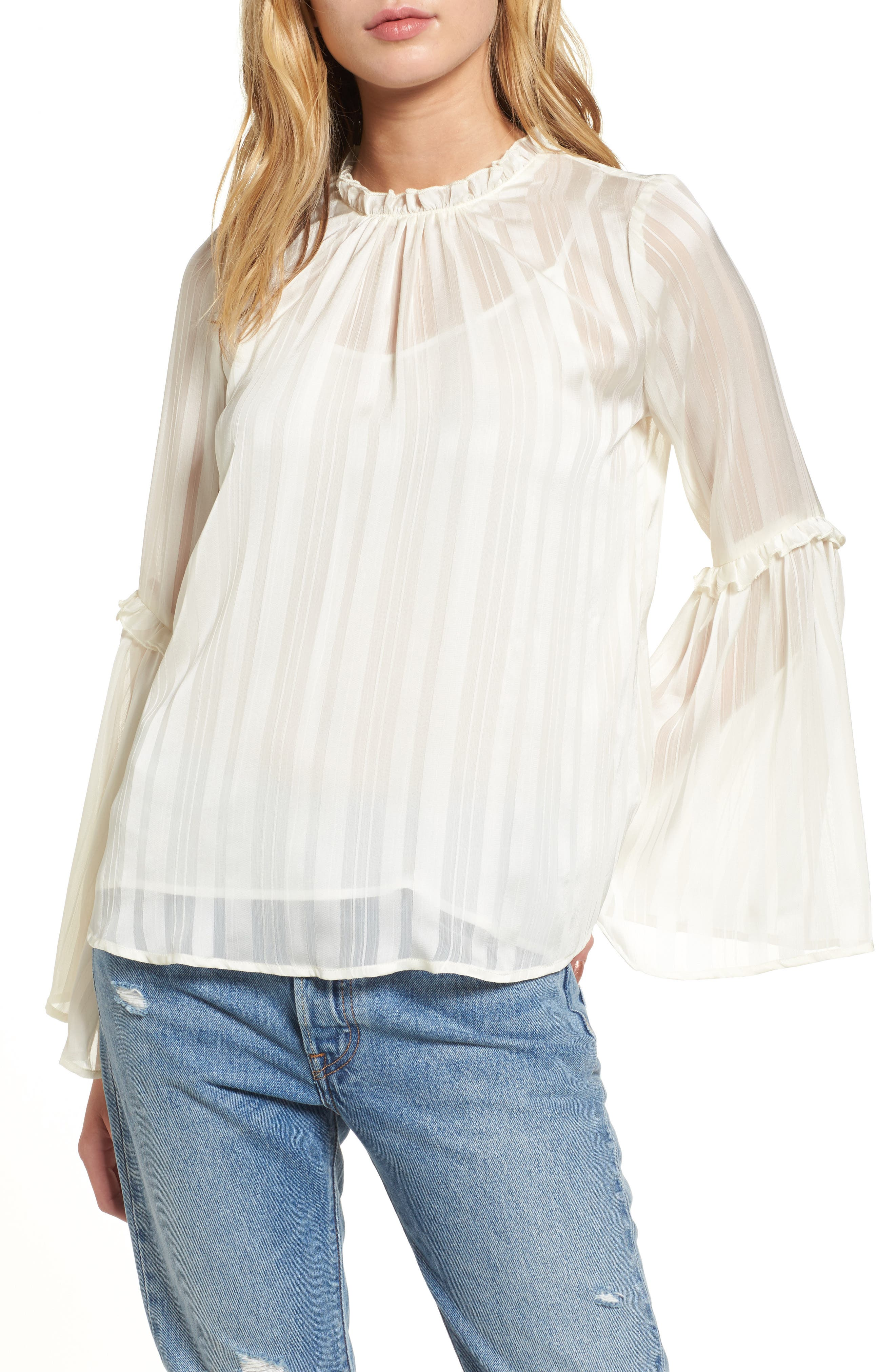 Shadow Stripe Blouse,                         Main,                         color, Ivory