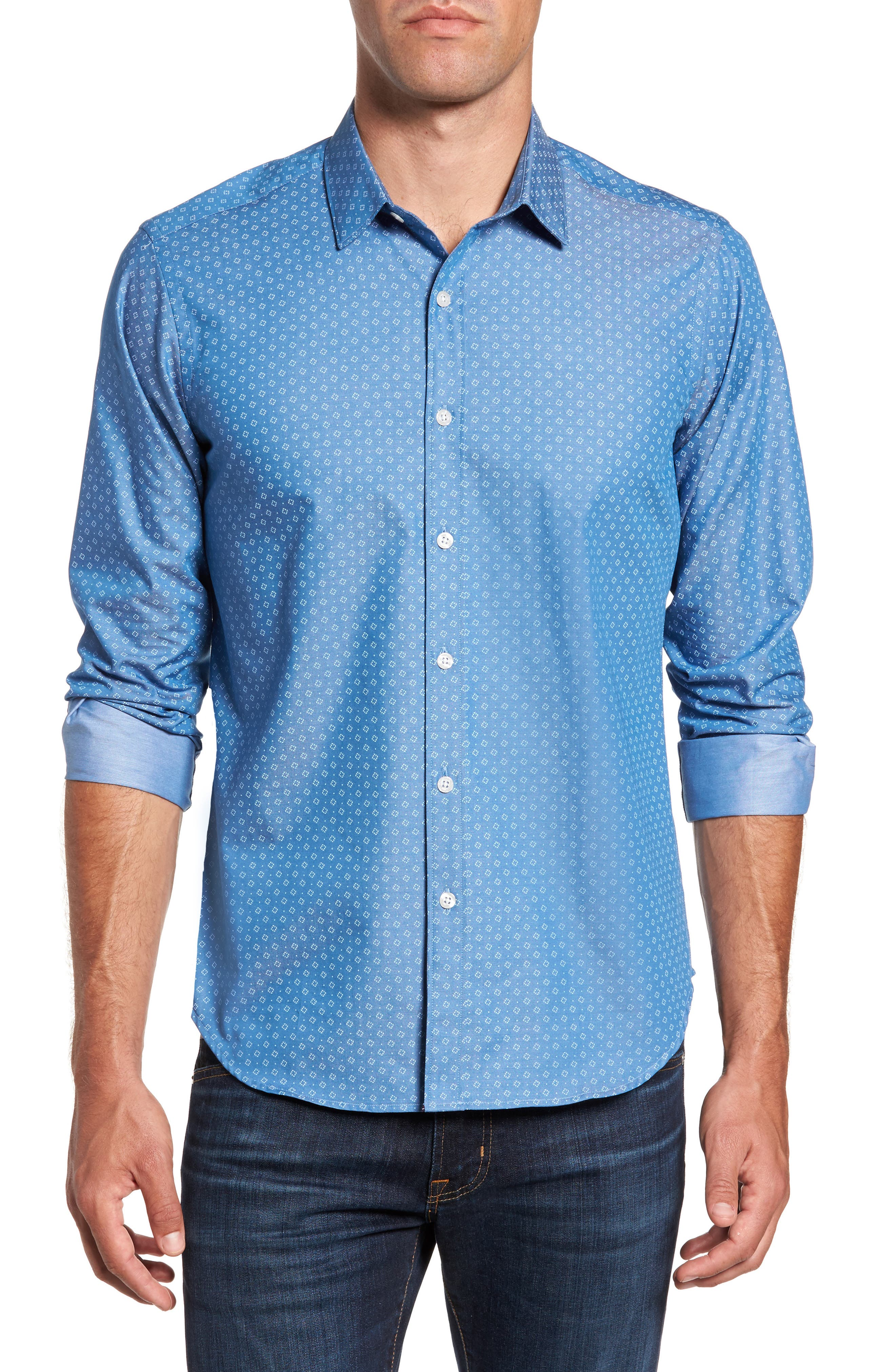 Camden Slim Fit Micro Print Sport Shirt,                         Main,                         color, Blue