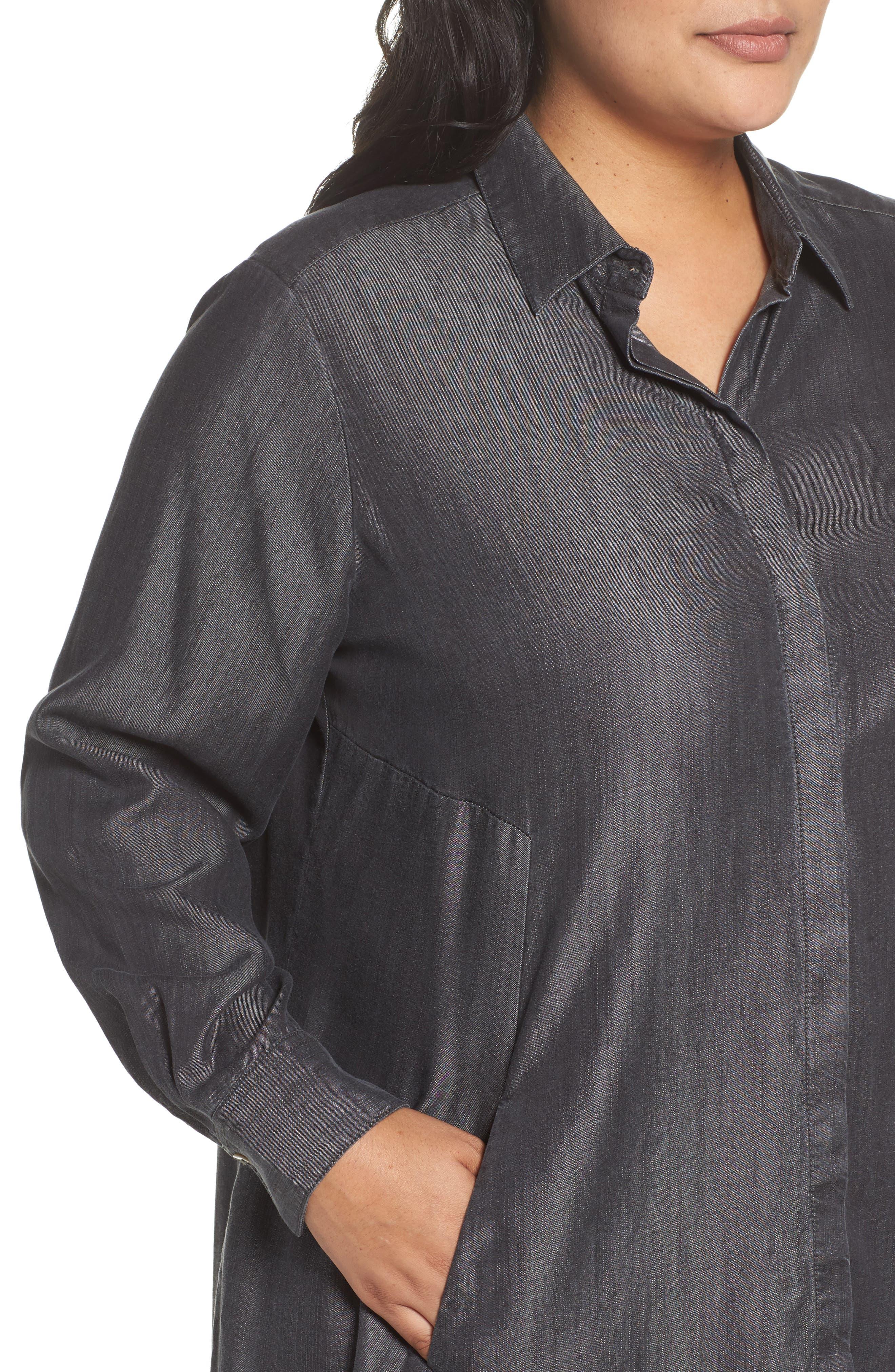 Alternate Image 4  - Foxcroft Chambray Tunic (Plus Size)