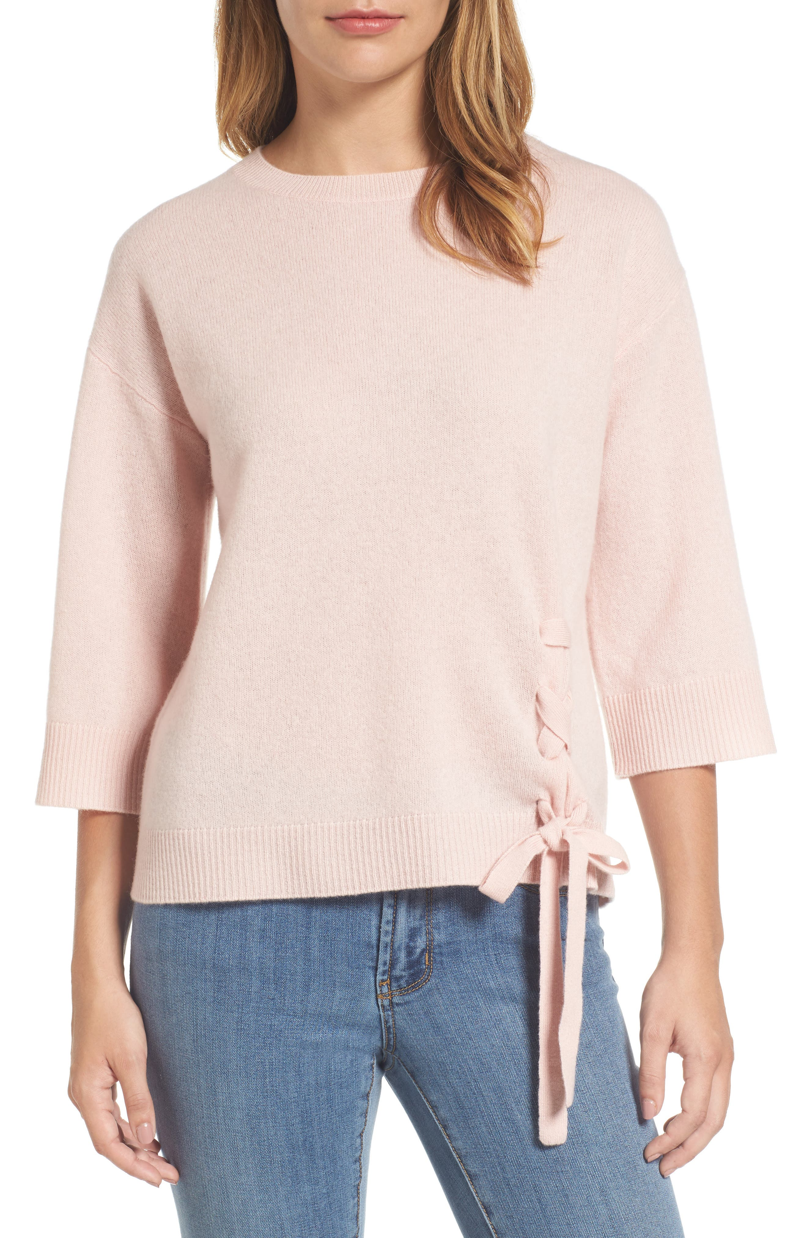 Side Tie Wool and Cashmere Sweater,                             Main thumbnail 1, color,                             Pink Smoke