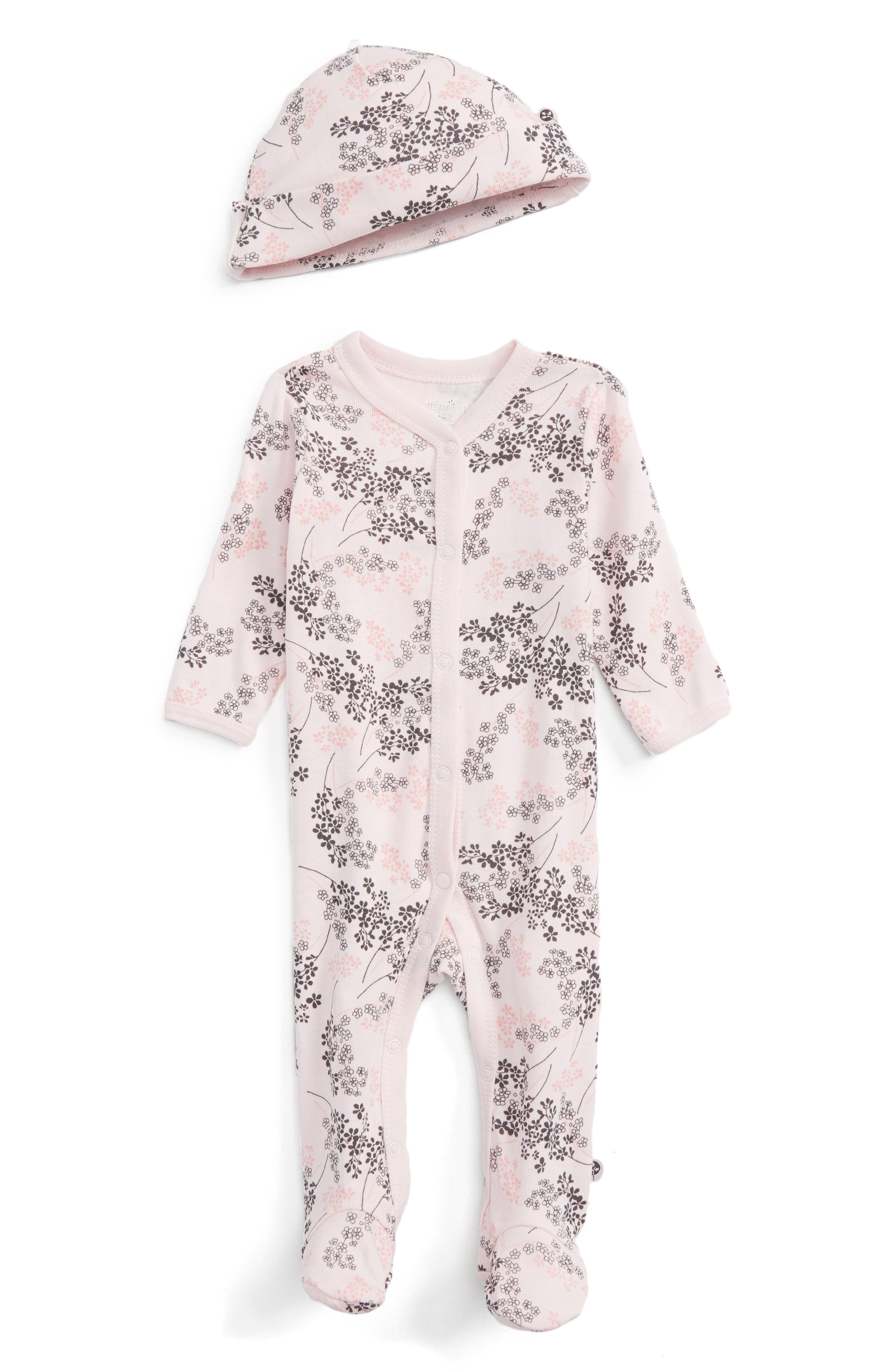 Offspring Floral Print Footie & Hat Set (Baby Girls)