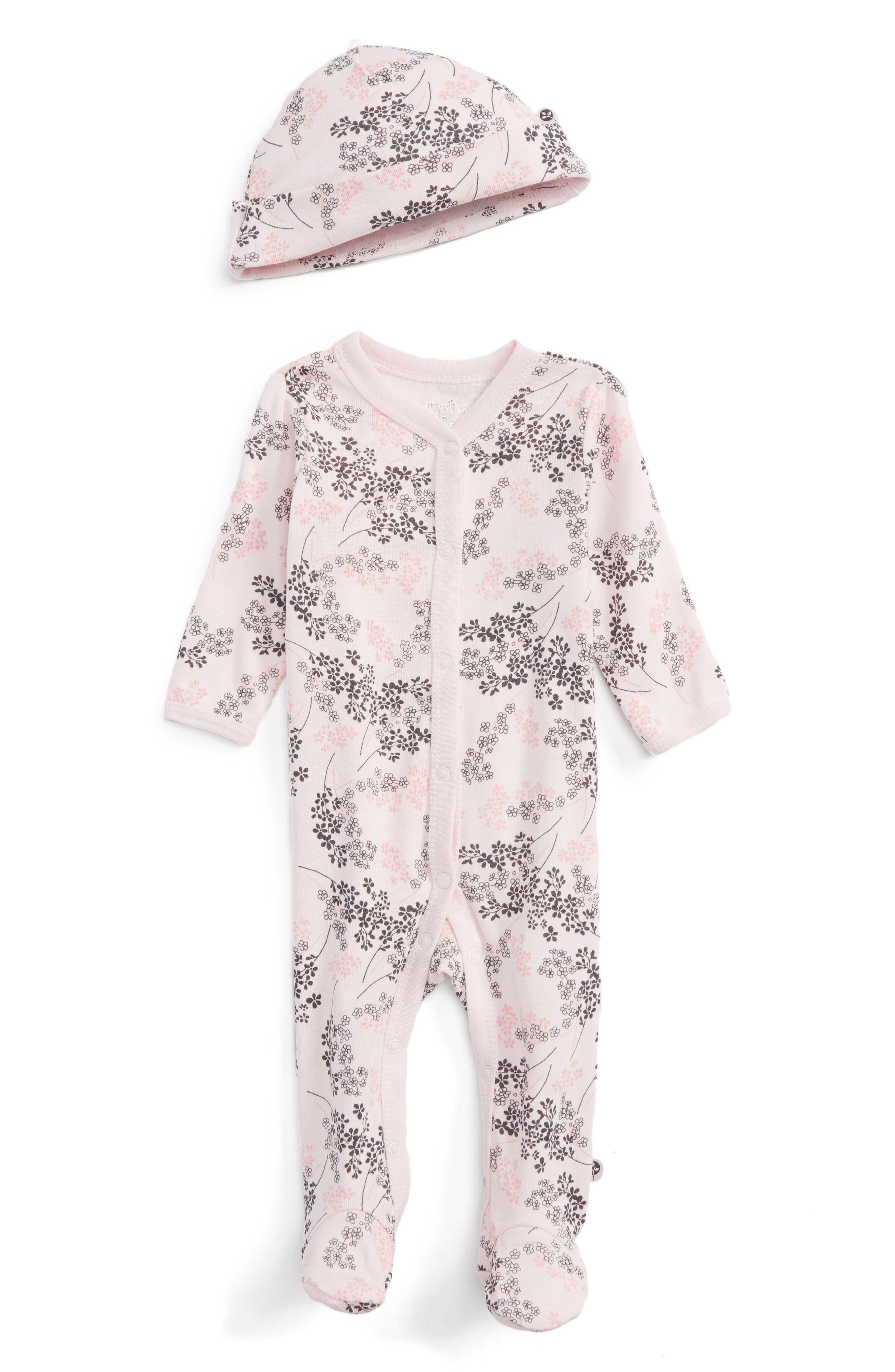 Main Image - Offspring Floral Print Footie & Hat Set (Baby Girls)