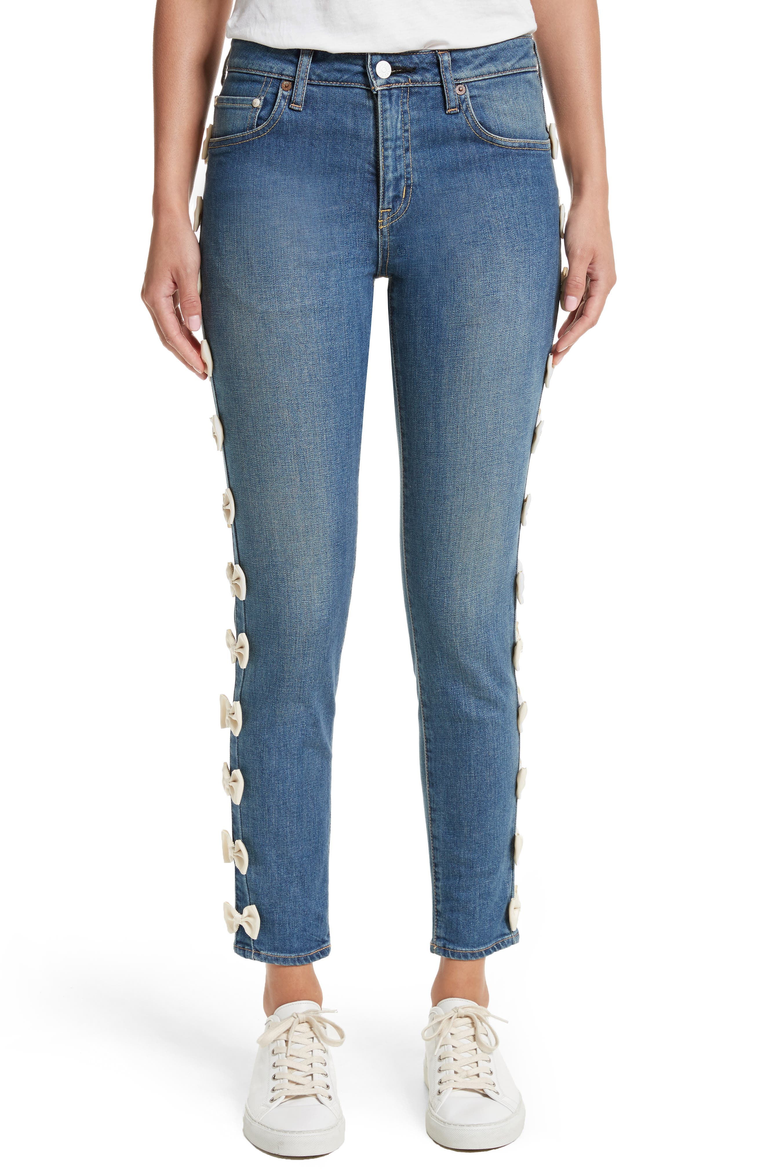 Grosgrain Bow Embellished Jeans,                             Main thumbnail 1, color,                             Blue Ivory