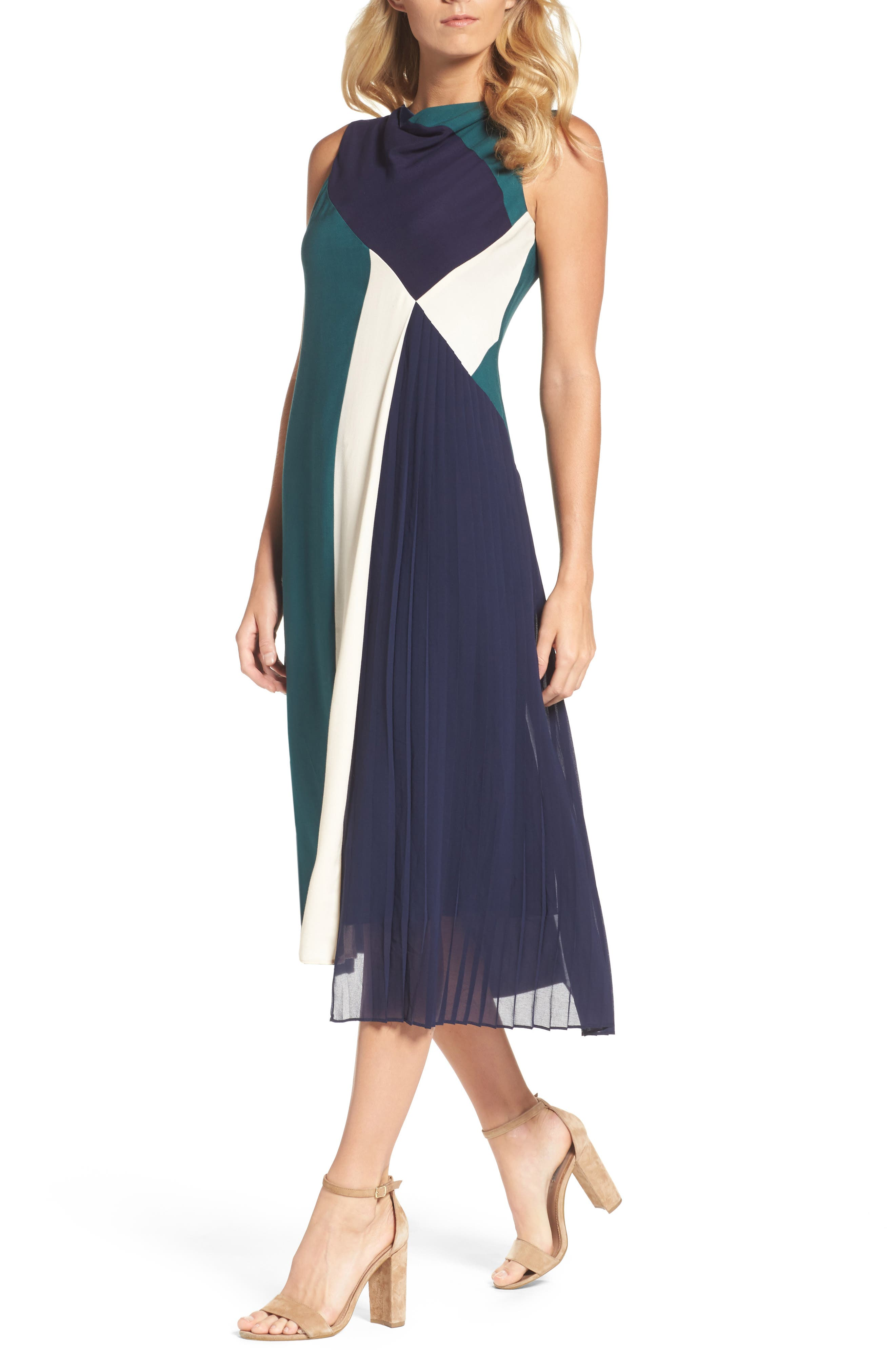 Block Pleated Midi Dress,                             Main thumbnail 1, color,                             Multi