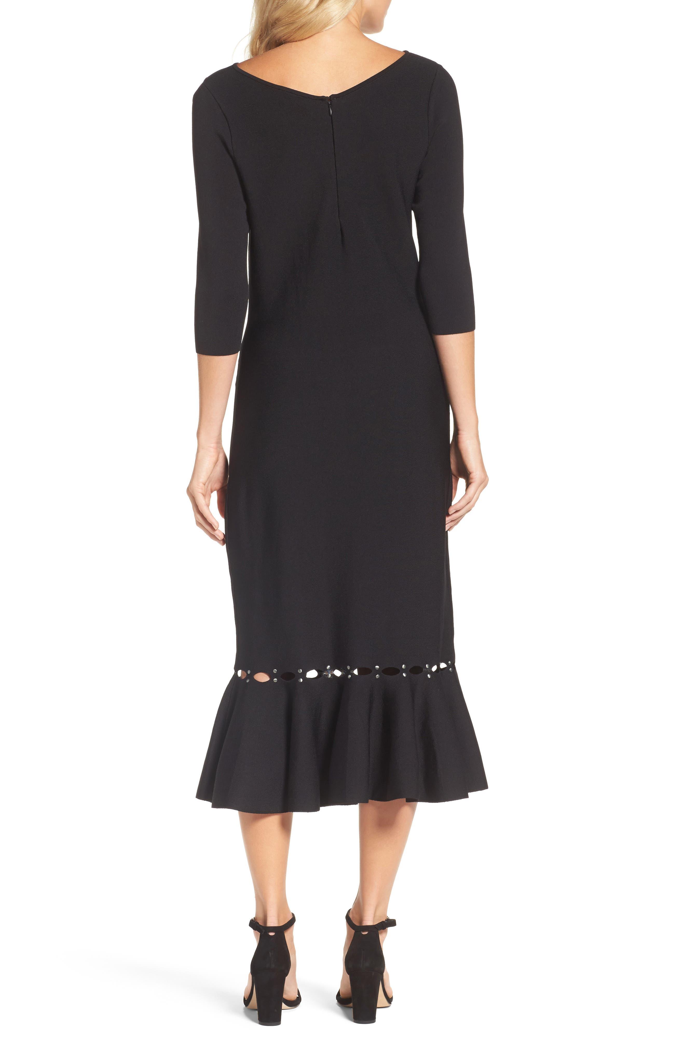 Flared Hem Midi Dress,                             Alternate thumbnail 2, color,                             Black Onyx